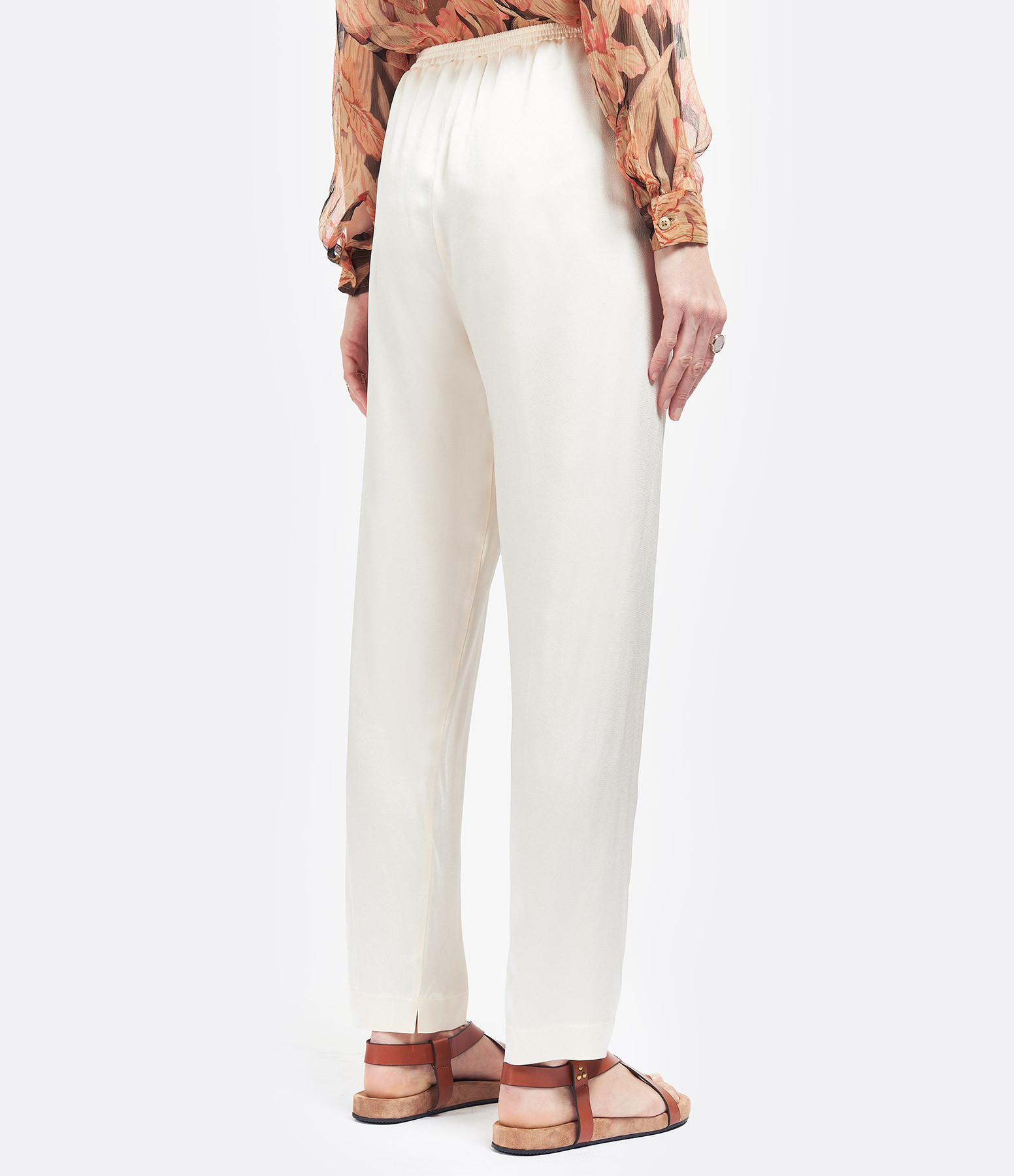 FORTE_FORTE - Pantalon Elastique Crèpe Satin Ivoire