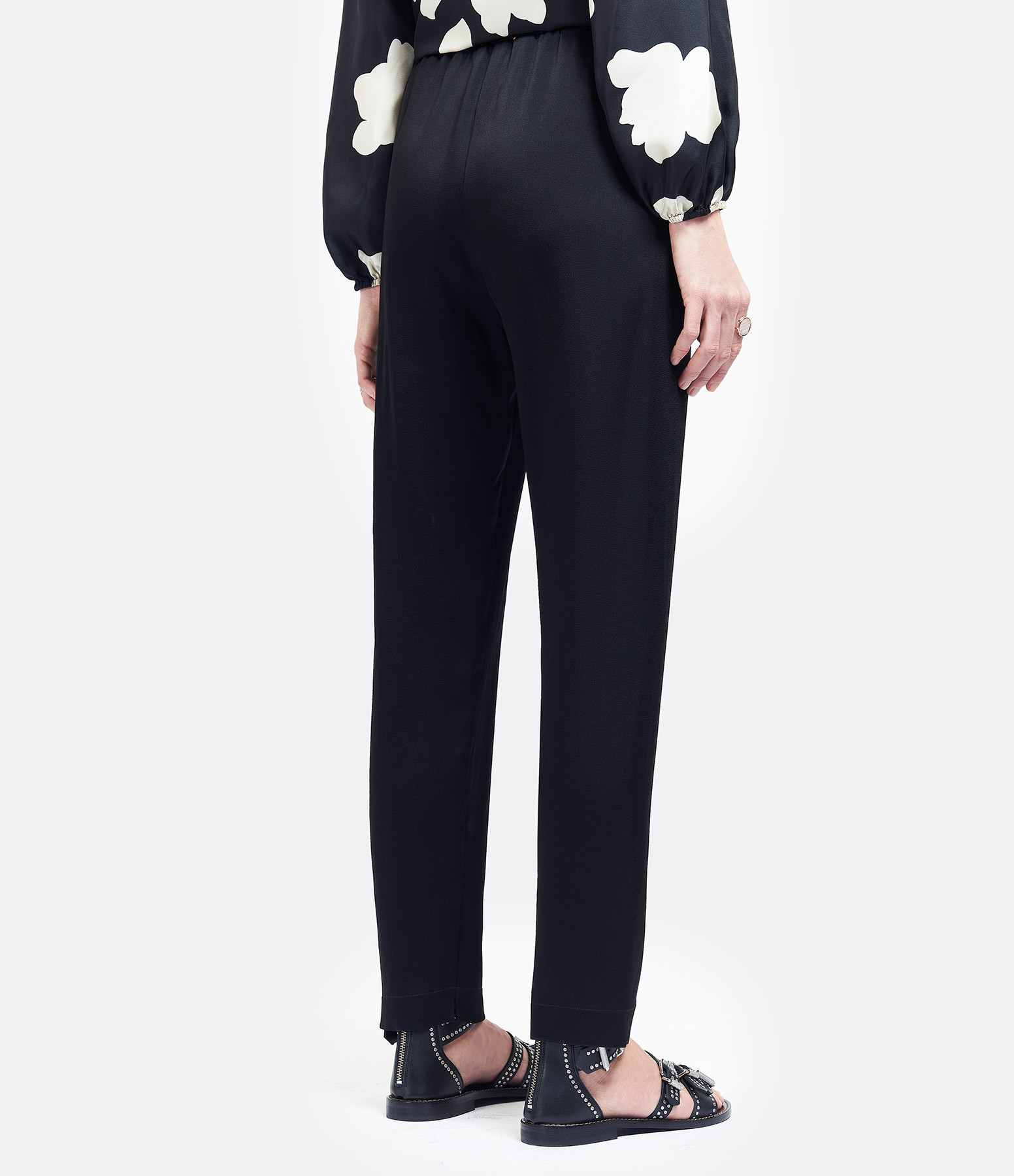 FORTE_FORTE - Pantalon Elastique Crêpe Satin Noir