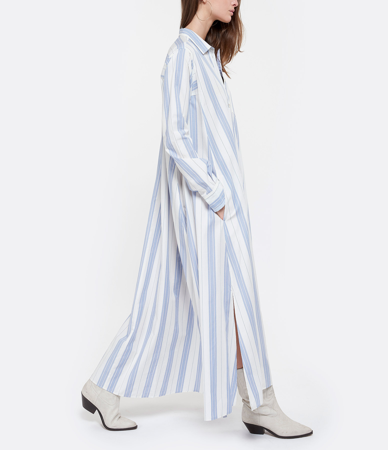 FORTE_FORTE - Robe Chemise Popeline Bleu Ciel