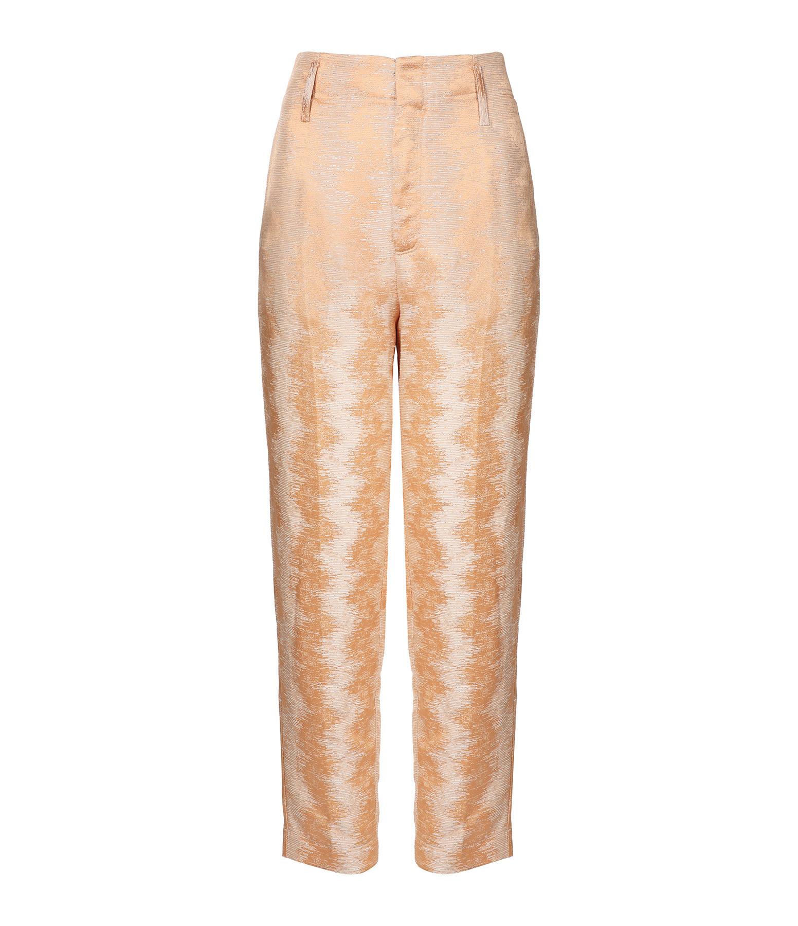 FORTE_FORTE - Pantalon Fluide Jacquard Terracotta