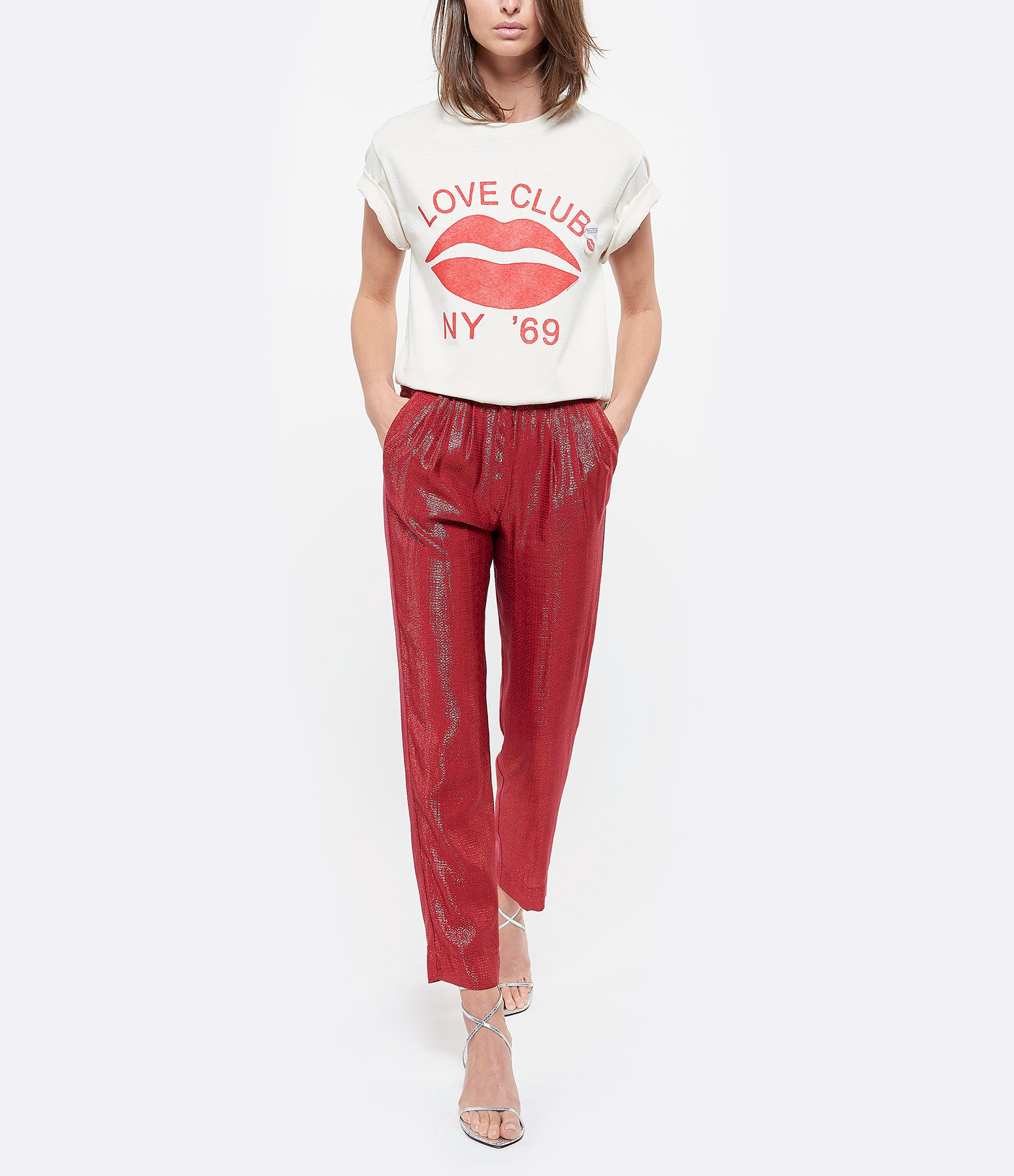FORTE_FORTE - Pantalon Mozaïk Jacquard Rouge Rubis