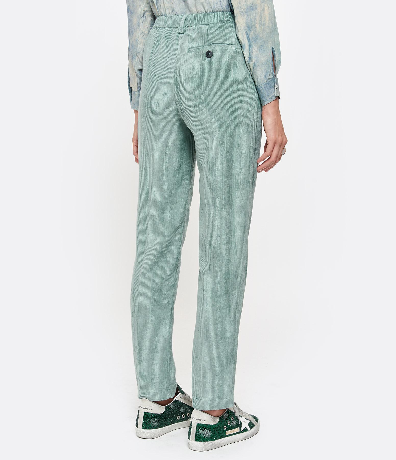 FORTE_FORTE - Pantalon Velours Fluide Bleu Marine