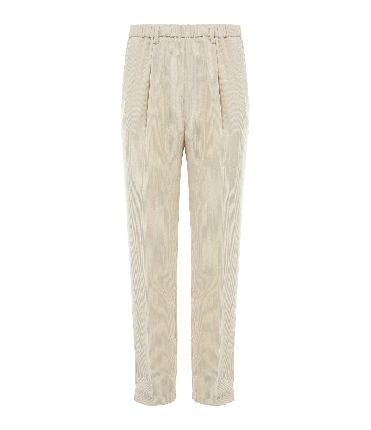 FORTE_FORTE - Pantalon Velours Fluide Beige