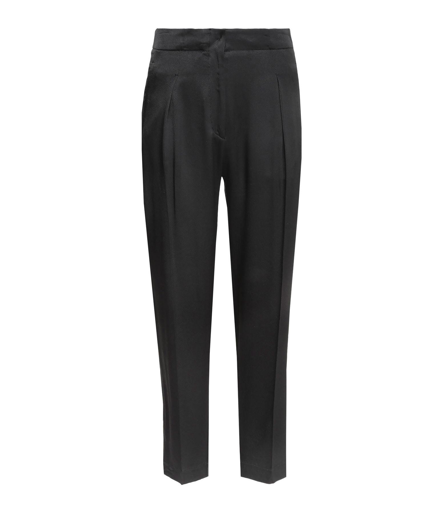 FORTE_FORTE - Pantalon Satin Marocain Taille Haute Noir