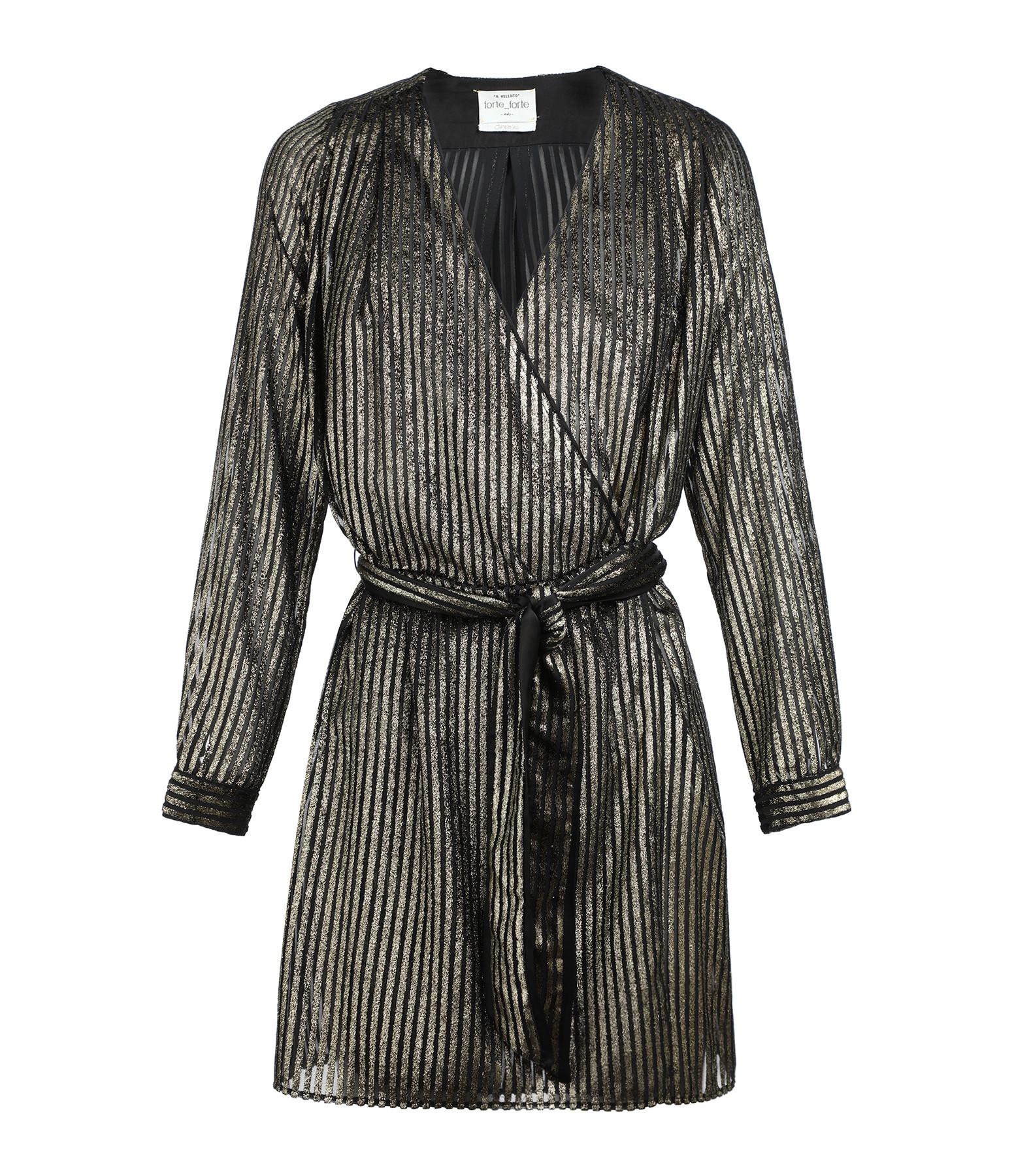 FORTE_FORTE - Robe Laminated Ceinturée Noir