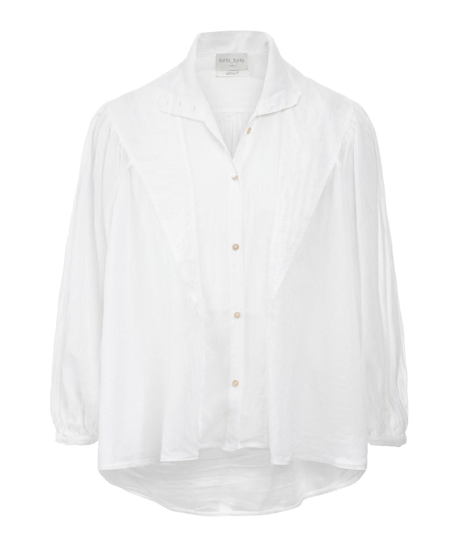 FORTE_FORTE - Chemise Bohemian Soie Coton Blanc