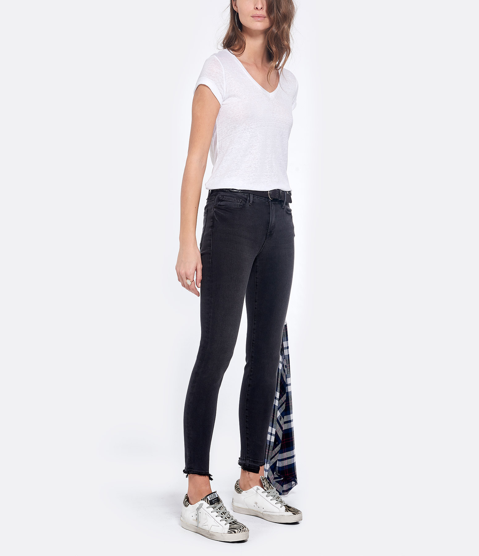 MAJESTIC FILATURES - Tee-shirt Col V Lin Blanc