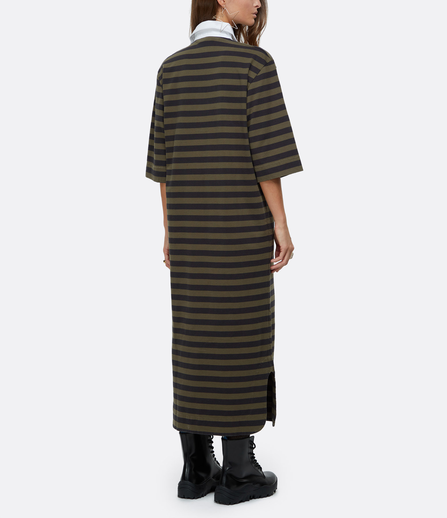 GANNI - Robe Tee-shirt Coton Biologique Rayures Kaki