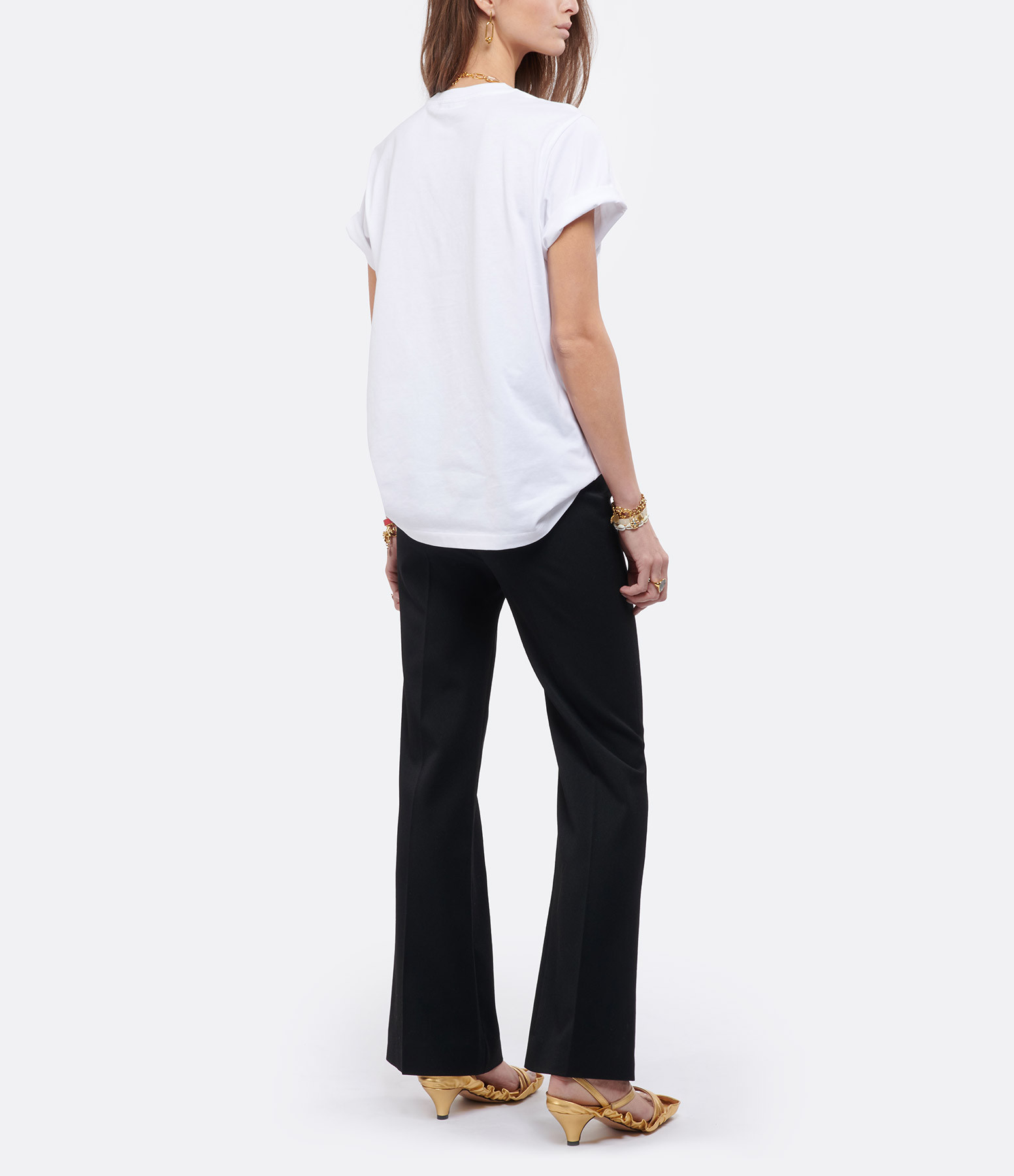 GANNI - Tee-shirt Ganni Coton Biologique Blanc Jaune