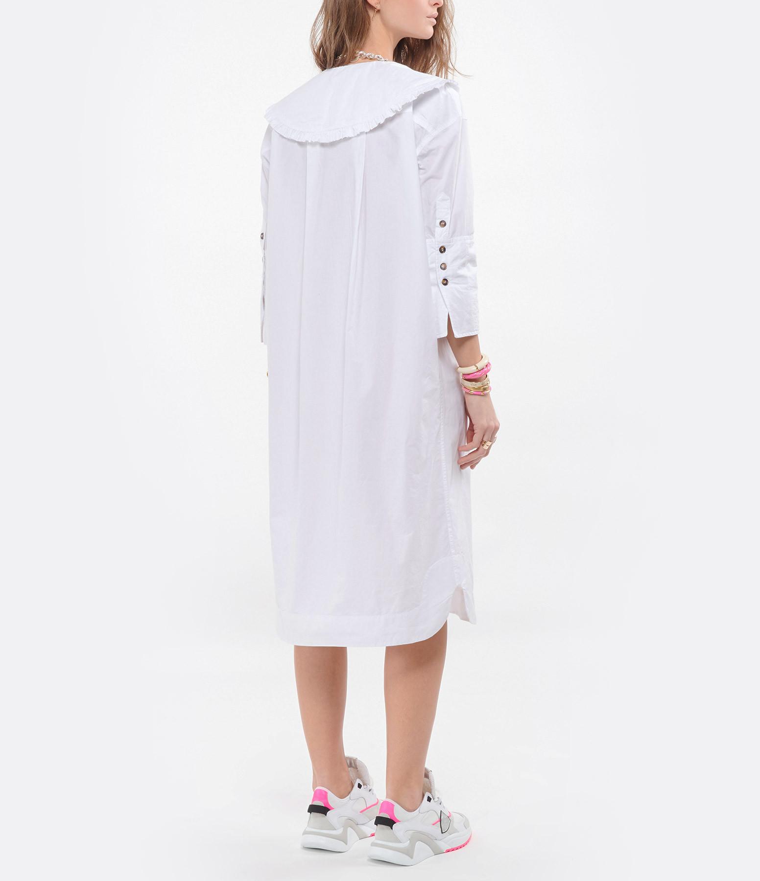 GANNI - Robe Chemise Coton Popline Blanc