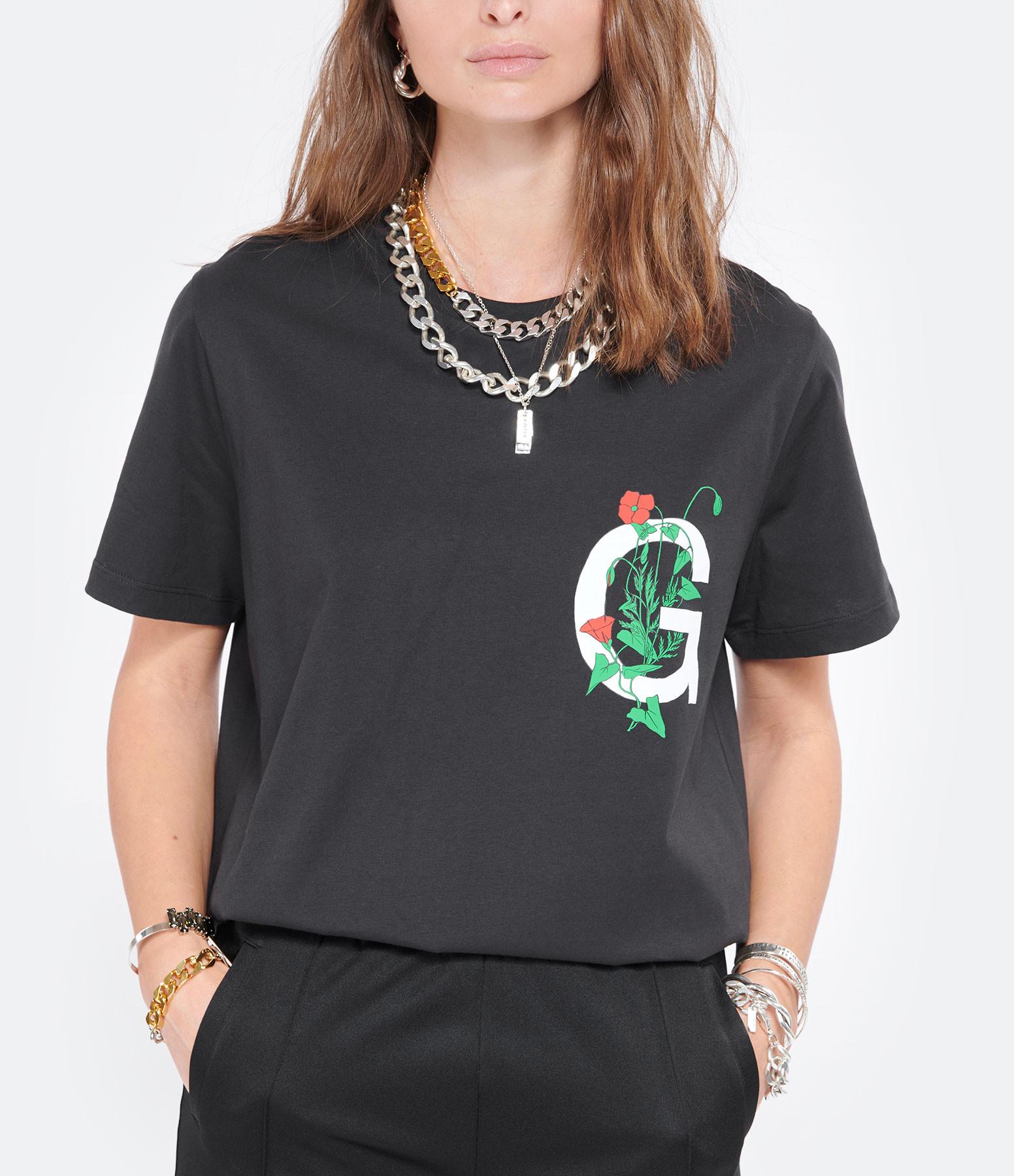 GANNI - Tee-shirt Logo Flower Coton Biologique Noir