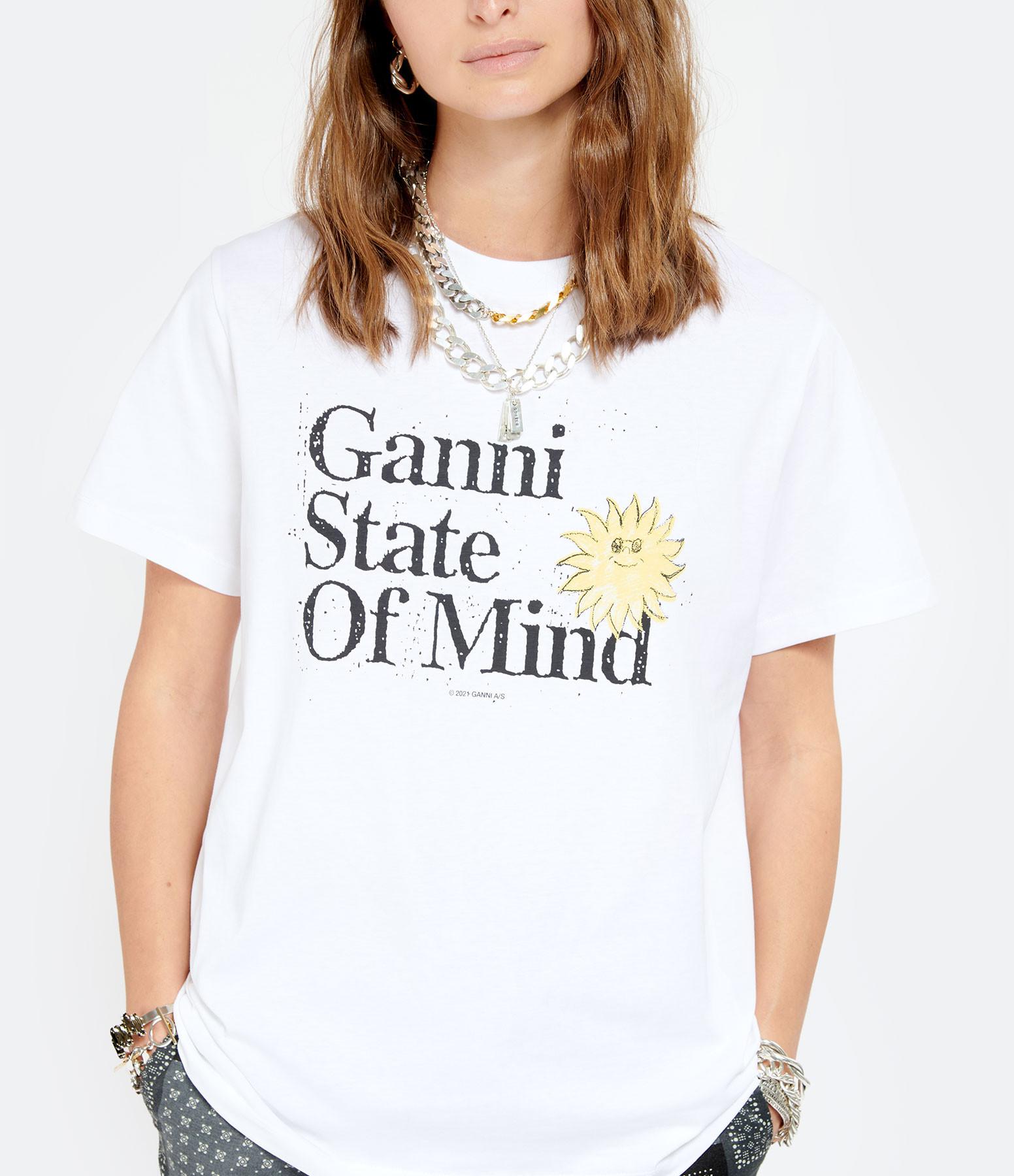 GANNI - Tee-shirt Ganni State Of Mind Coton Bio Blanc