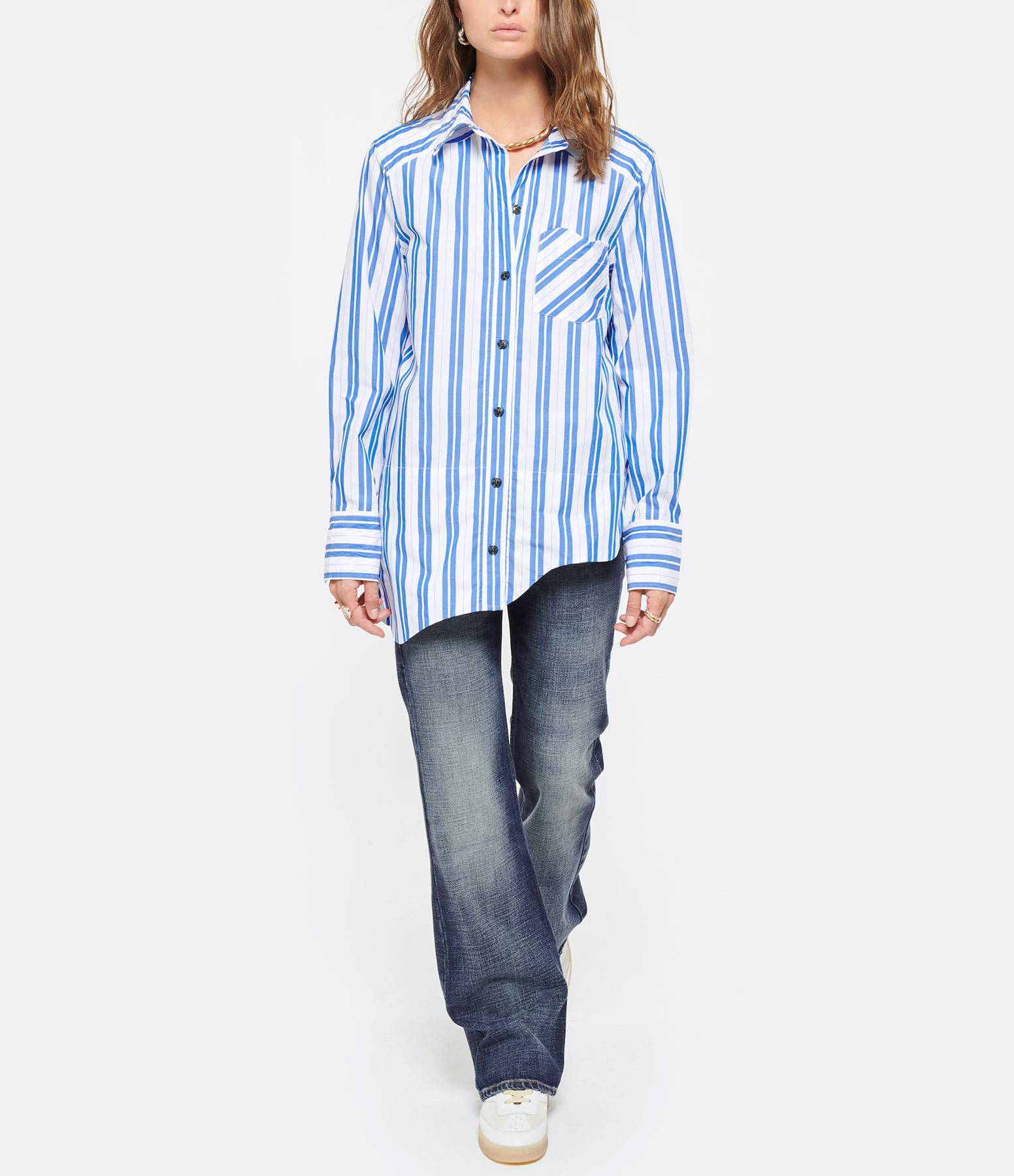 GANNI - Chemise Coton Rayures Blanc Bleu