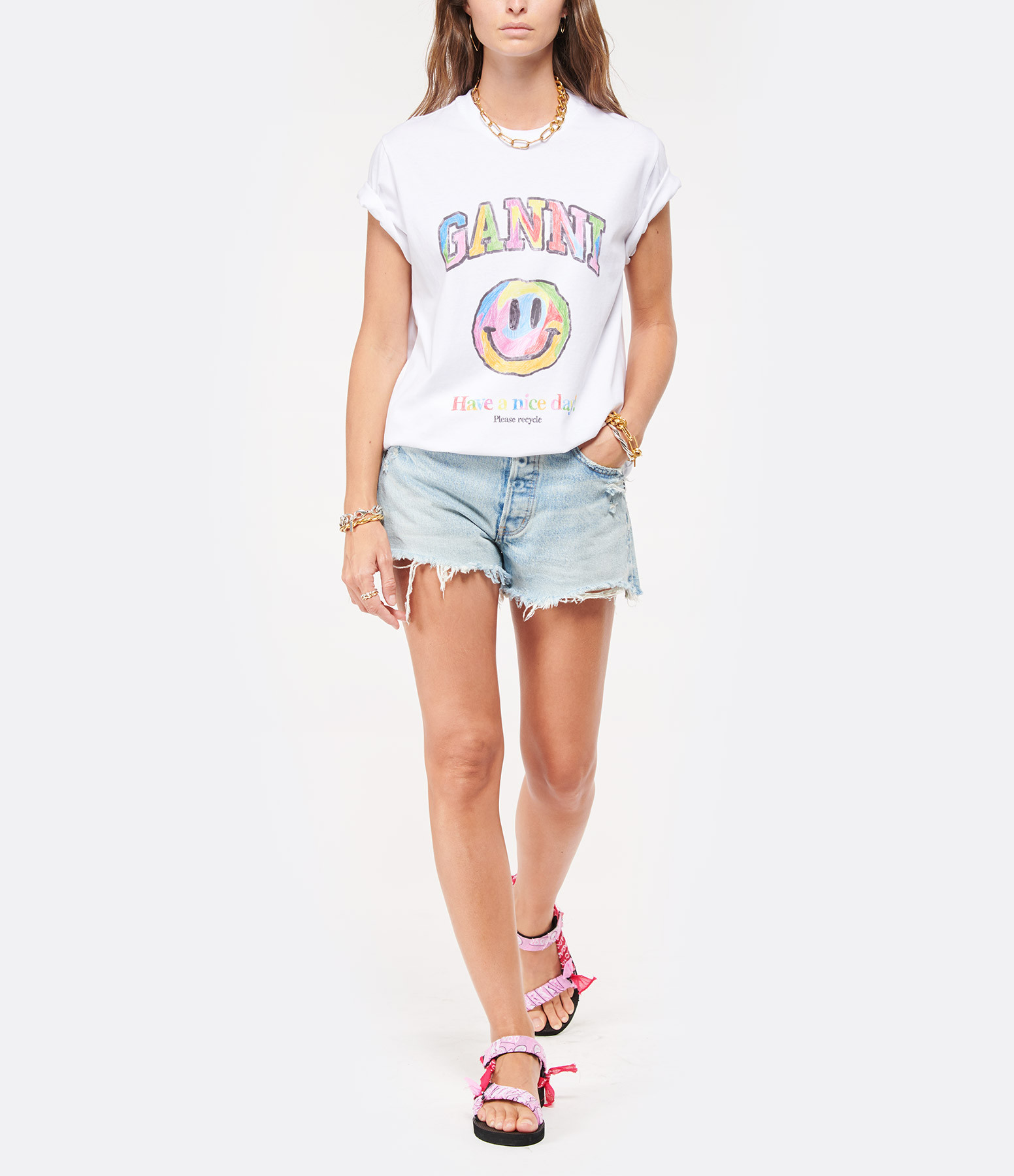 GANNI - Tee-shirt Basic Ganni Coton Blanc Multicolore