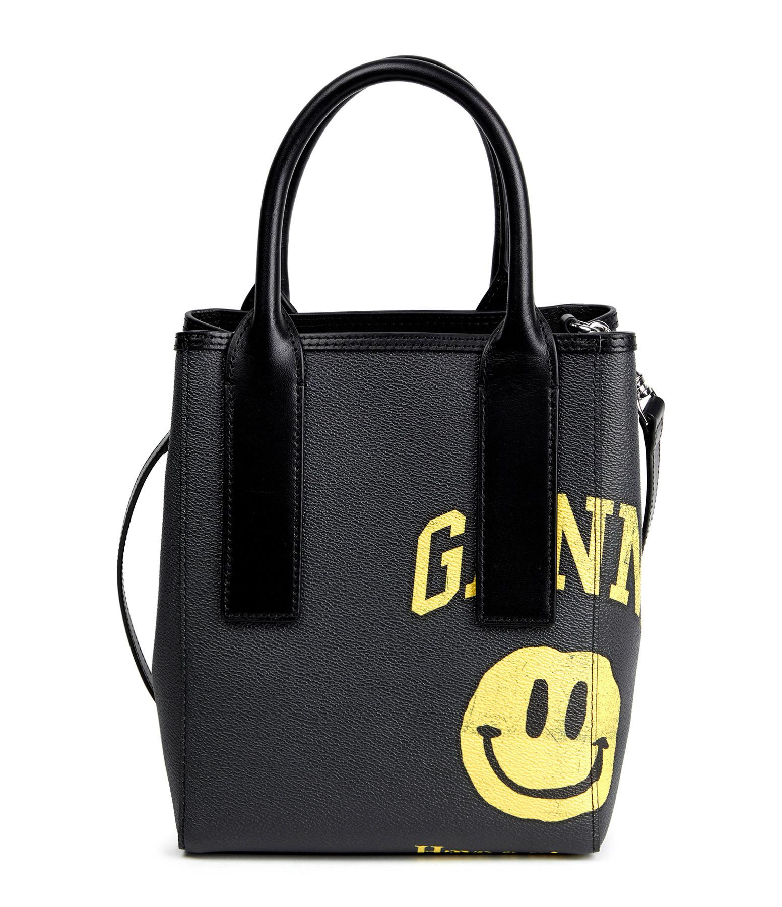 GANNI - Sac Bandoulière Cuir Toile Logo Ganni Noir