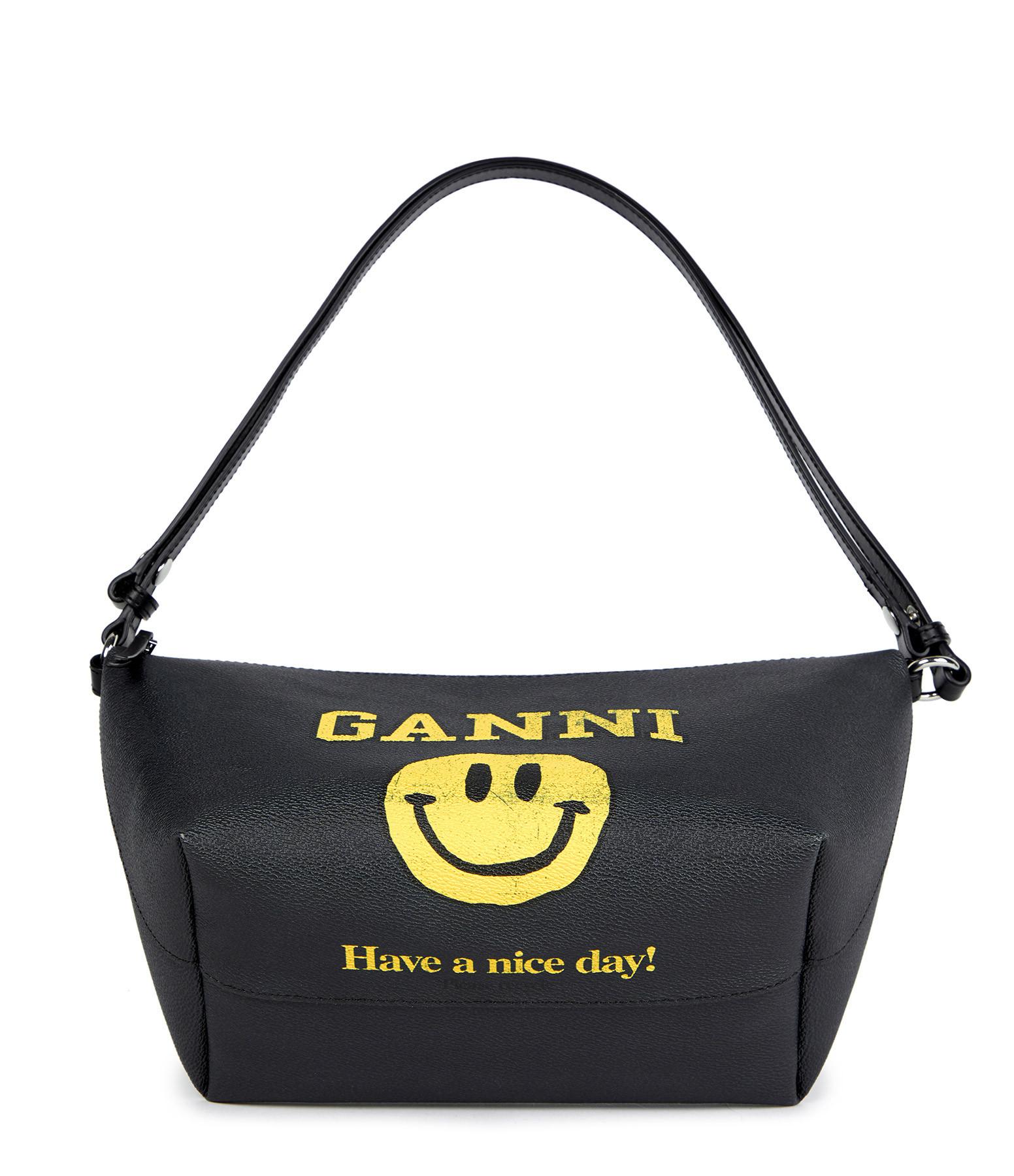 GANNI - Sac Cuir Toile Logo Ganni Noir