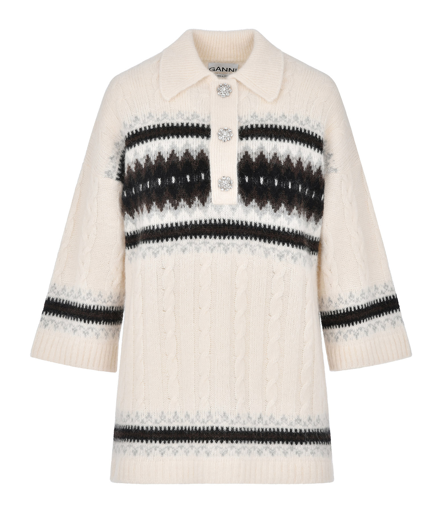 GANNI - Tee-shirt Alpaga Laine Blanc Beige