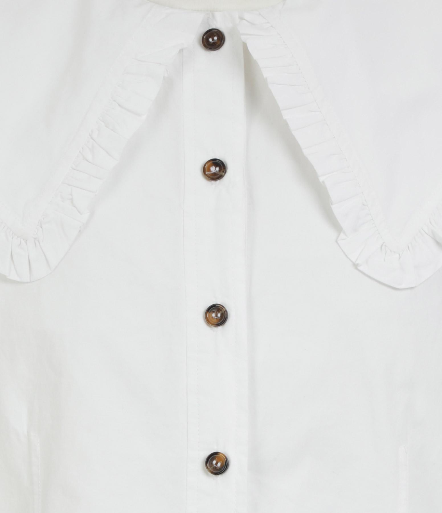 GANNI - Top Coton Popline Blanc