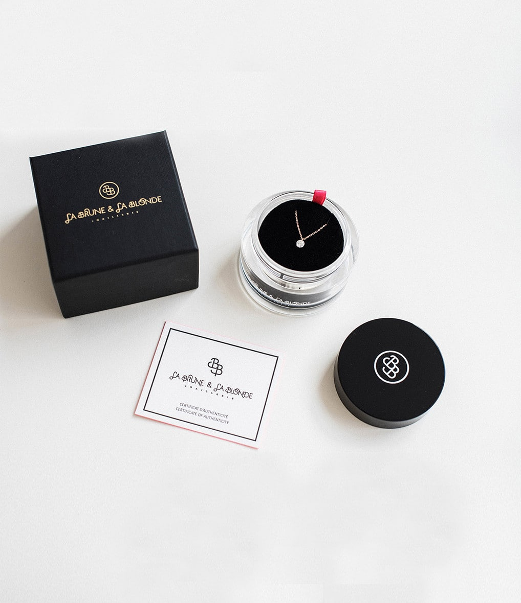 LA BRUNE & LA BLONDE - Bracelet BB Diamant Brillant Cordon Nude Or Rose