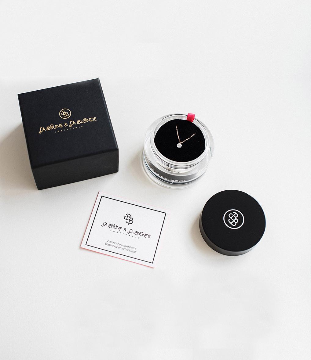 LA BRUNE & LA BLONDE - Collier Confetti Cœur Rubis Or Rose