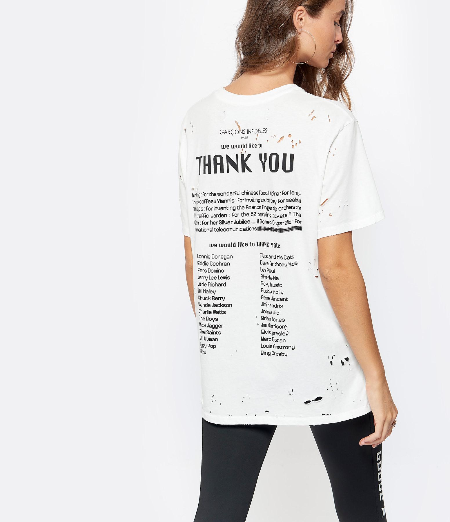 GARCONS INFIDELES - Tee-shirt Thank You Coton Ecru