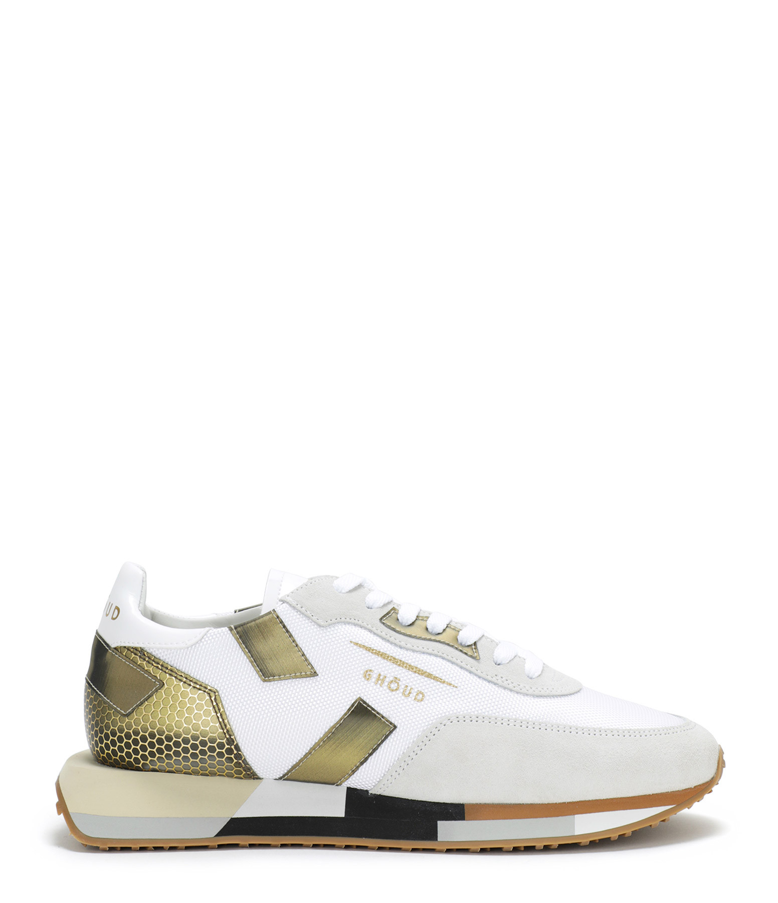 GHOUD VENICE - Baskets Running Cuir Multi Rush Blanc Bronze