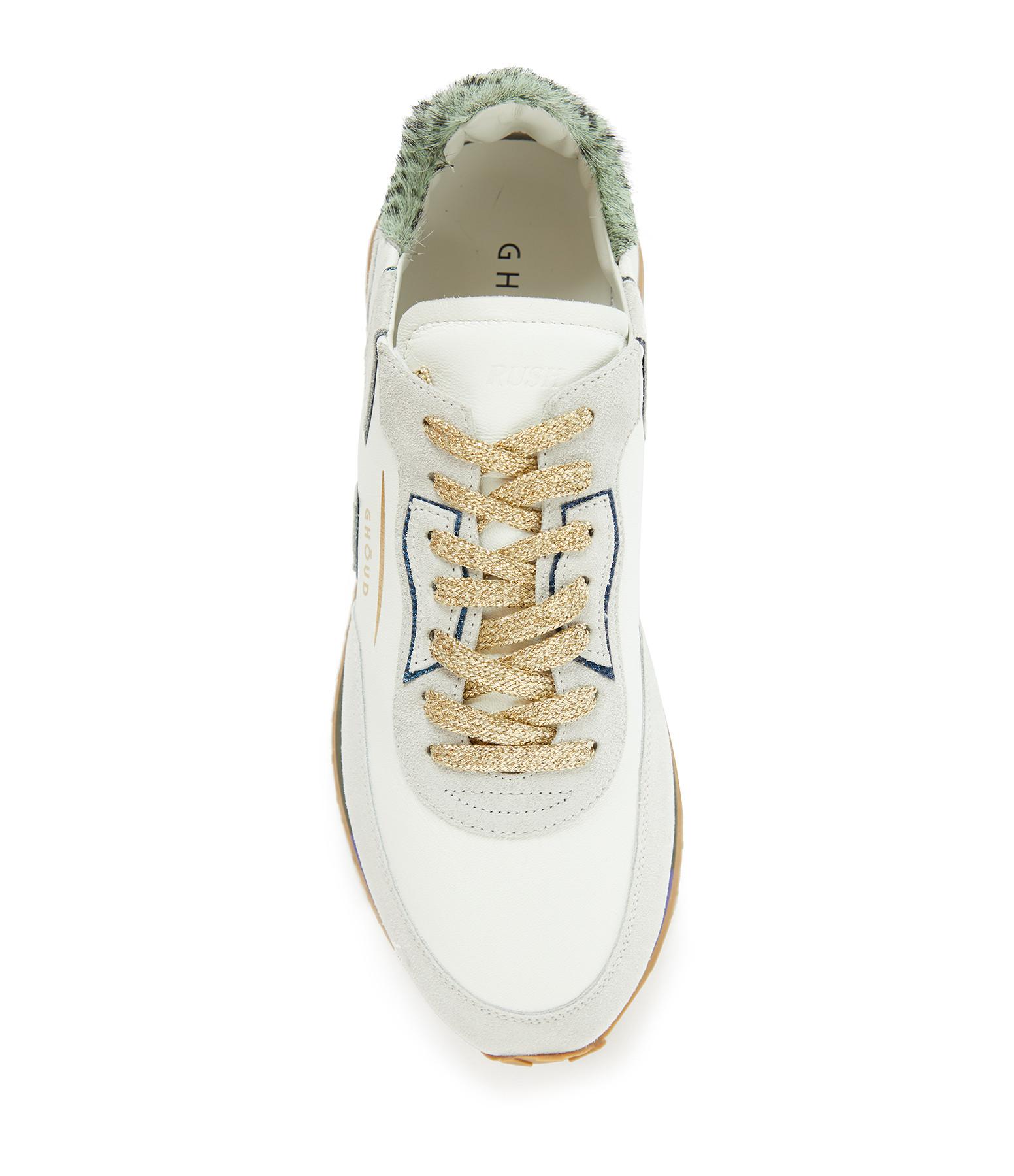 GHOUD VENICE - Baskets Running Rush Cuir Blanc Vert