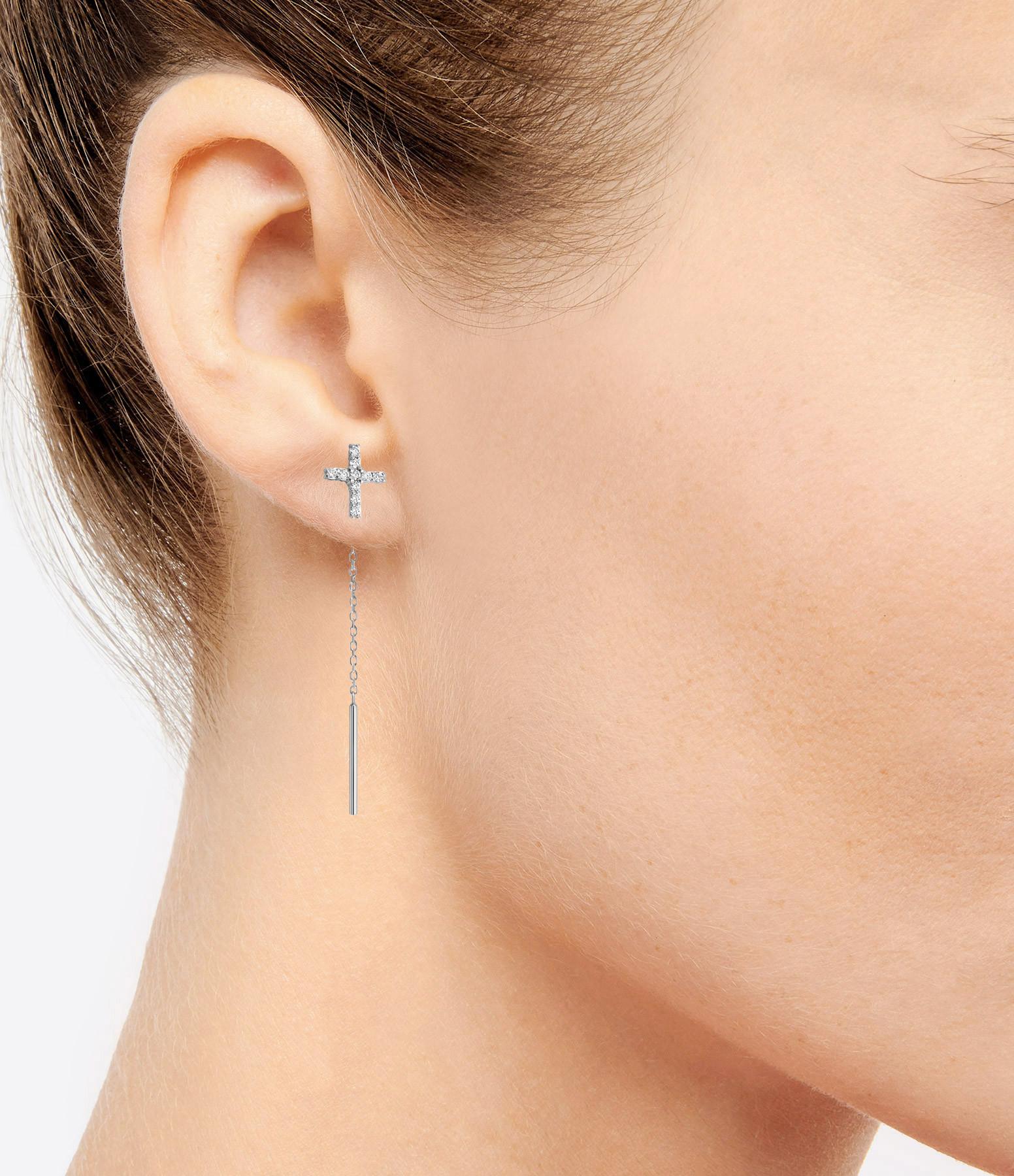 Boucles d'oreilles Croix Diamants (unité) - CLOZEAU