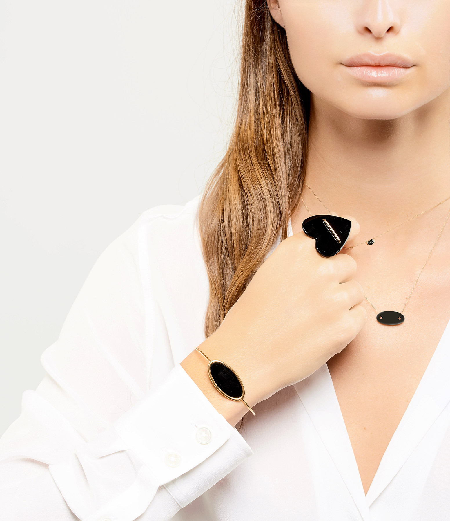 GINETTE_NY - Jonc Ellipse Or Rose Onyx