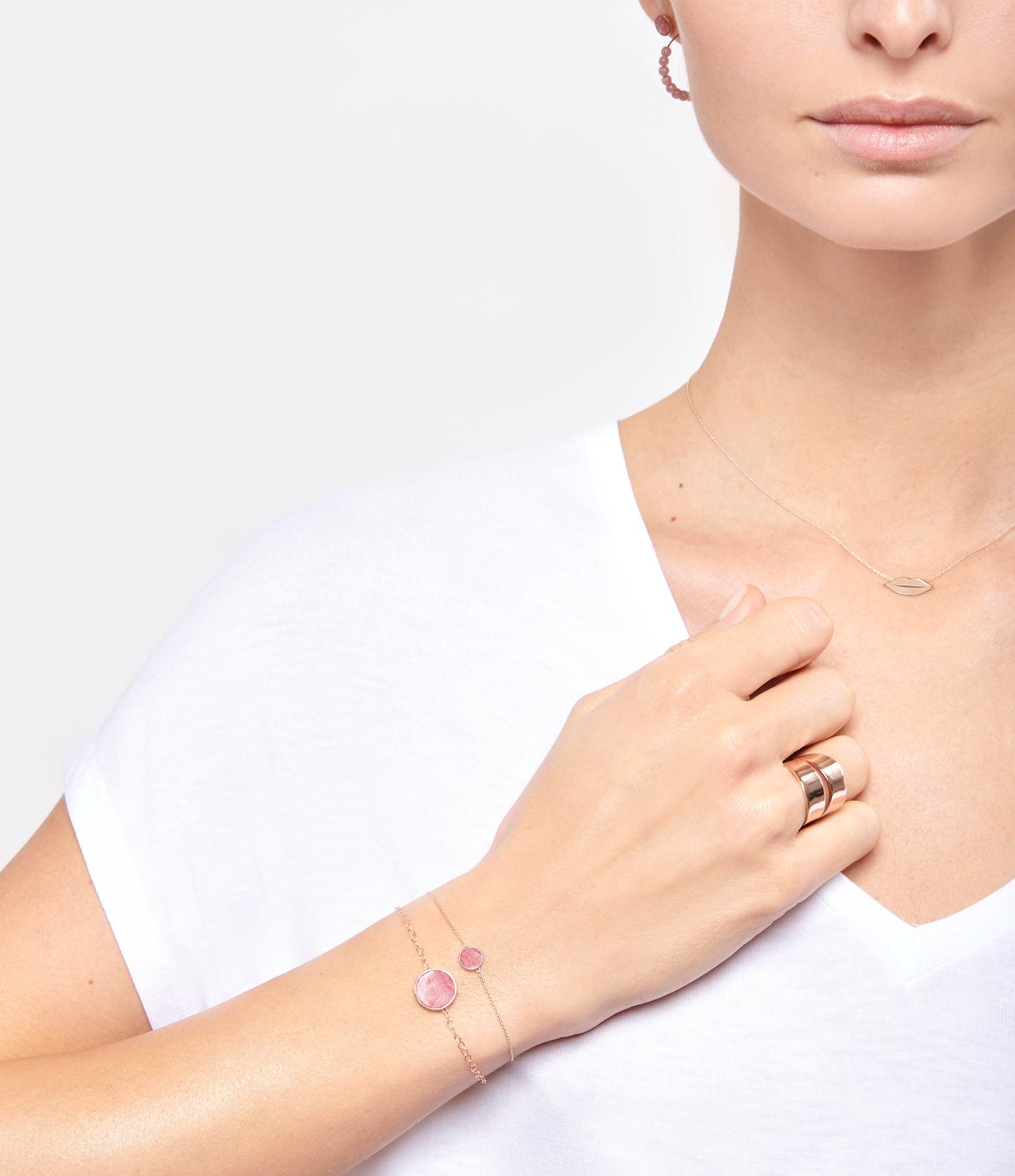 GINETTE NY - Bracelet Ever Mini Disc Or Rose Rhodocrosite