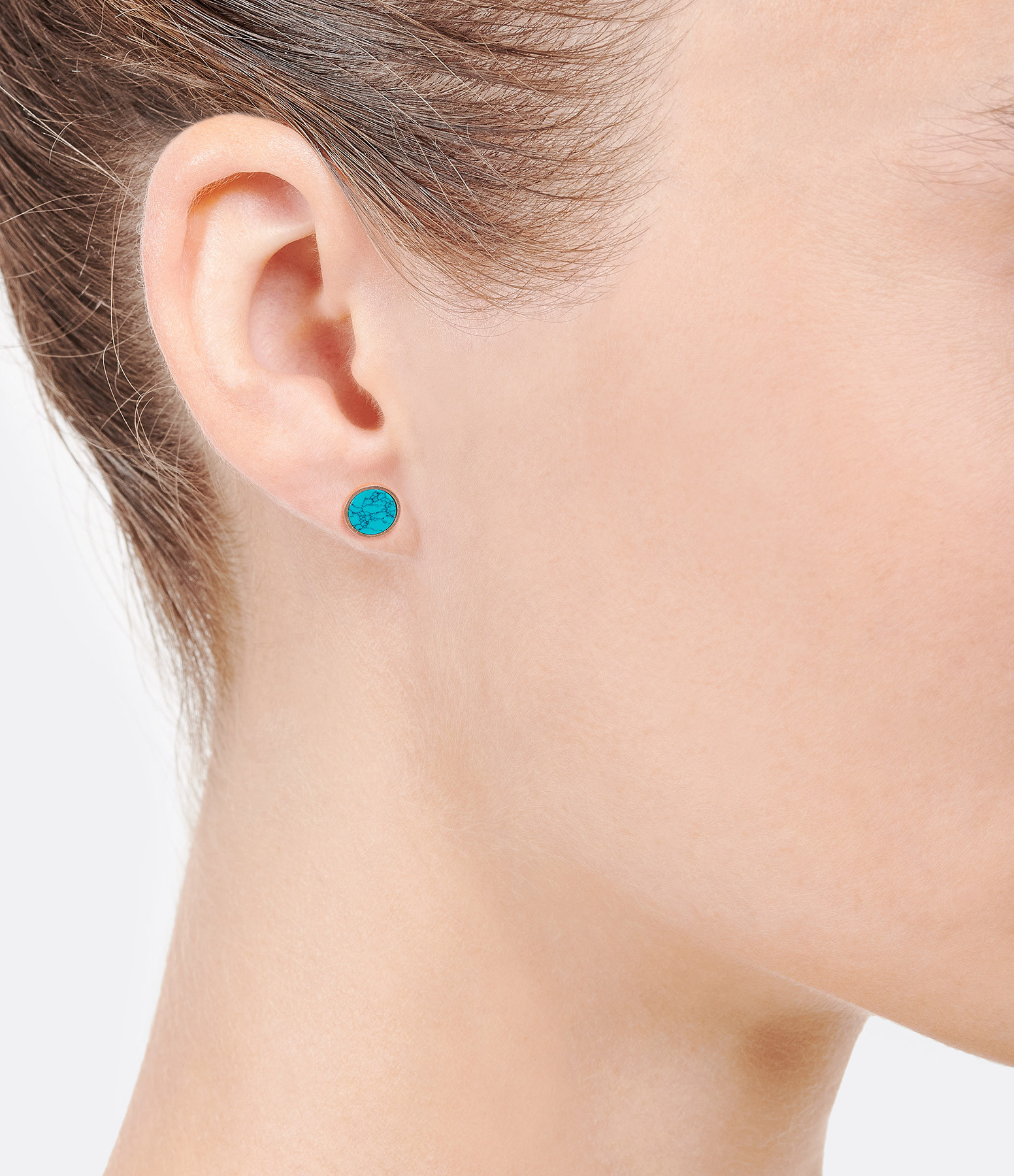 GINETTE NY - Boucles d'oreilles Ever Disc Or Rose Turquoise