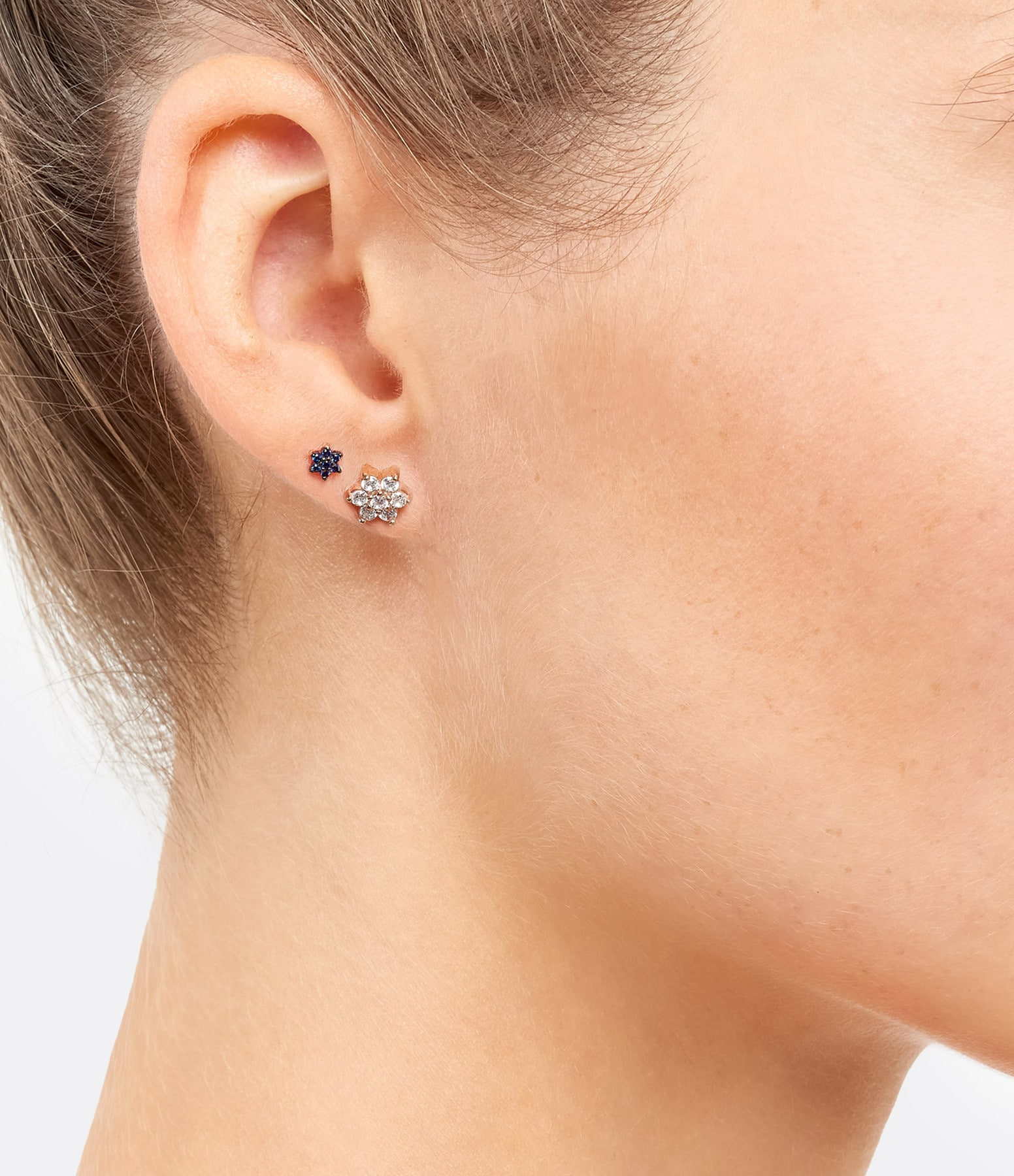 GINETTE NY - Boucles d'oreilles Star Puces Diamants Or Rose