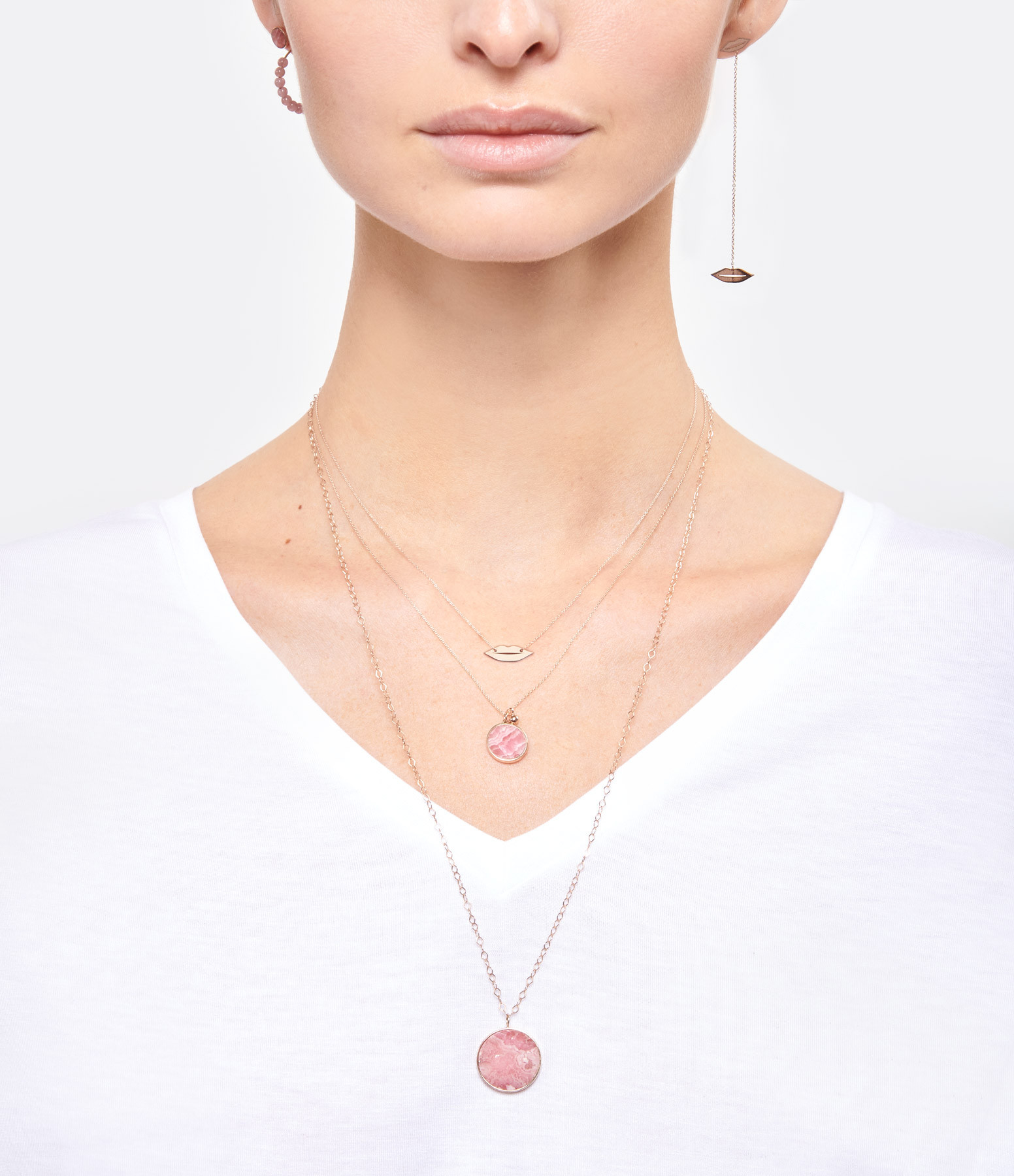 GINETTE NY - Boucles d'oreilles Ever Disc Or Rose Rhodocrosite