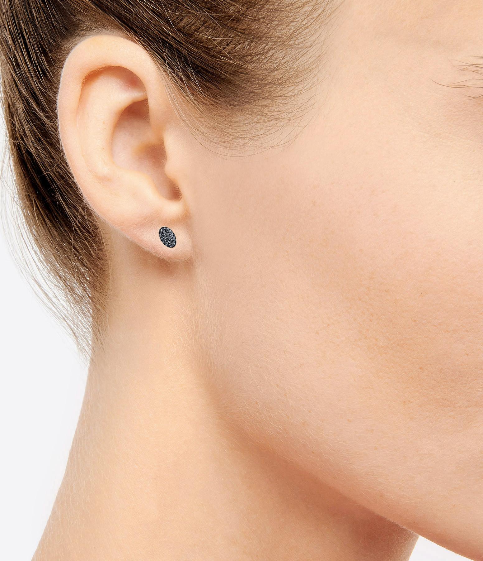 GINETTE_NY - Boucles d'oreilles Sequin Or Rose Diamants Noirs