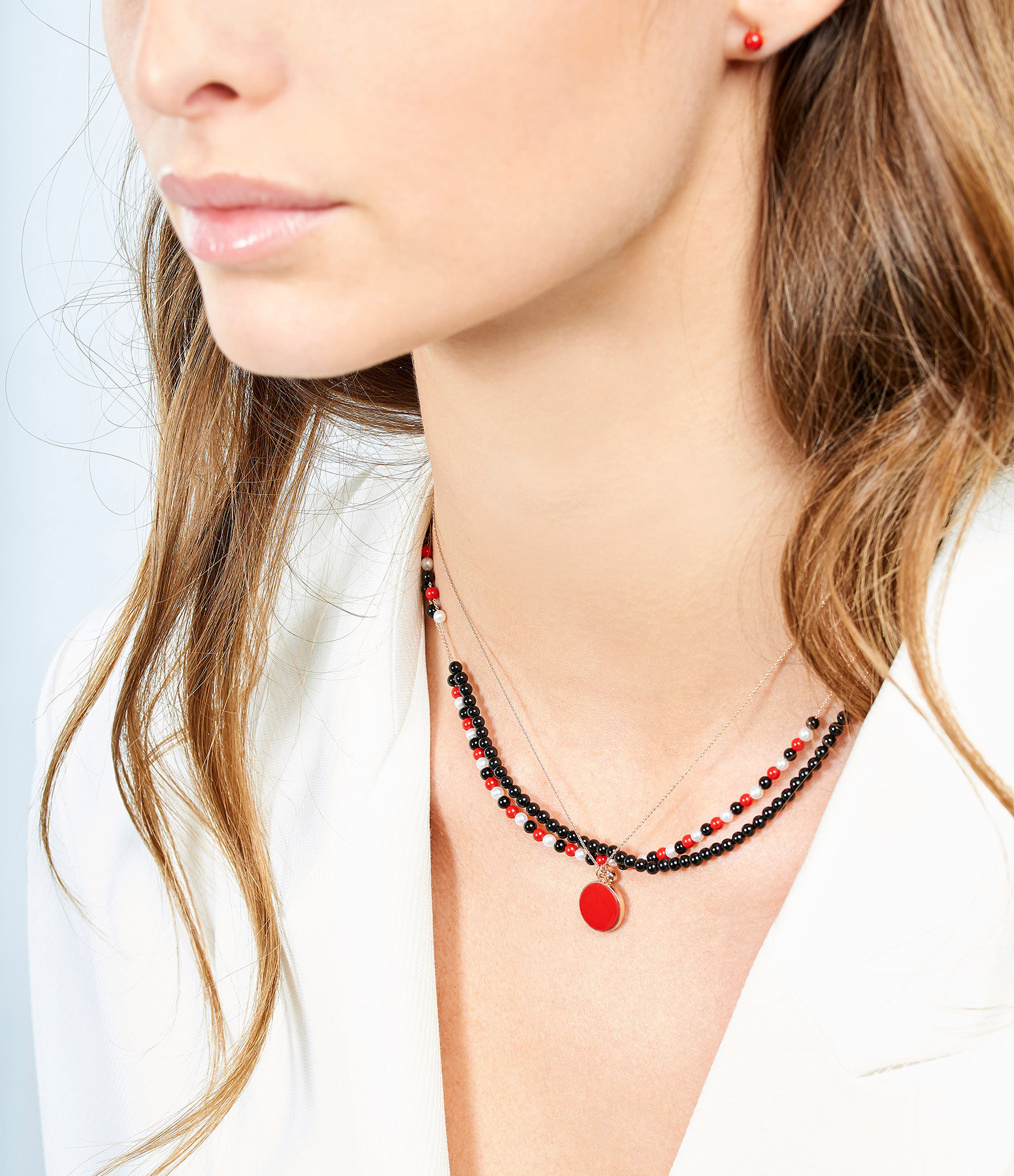 GINETTE_NY - Collier Maria Disc Or Rose Corail