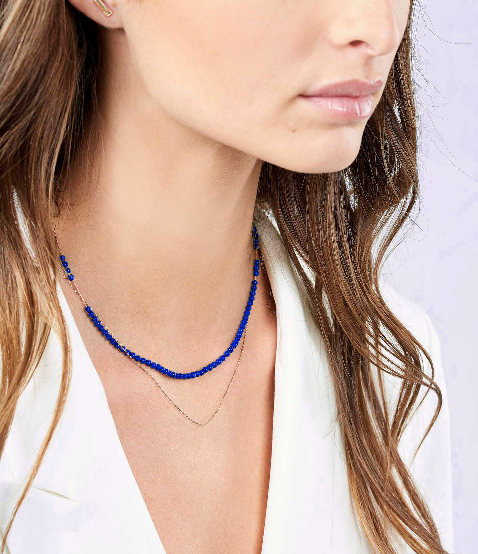 GINETTE NY - Collier Maria Mini Boulier Or Rose Lapis Lazuli