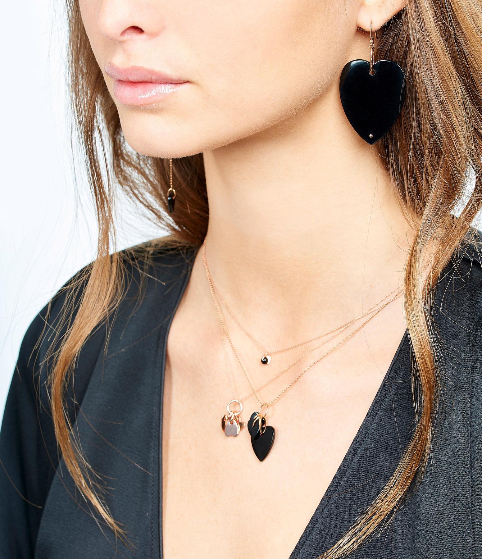 GINETTE_NY - Boucle d'oreille Angèle Jumbo Coeur Onyx (unité)
