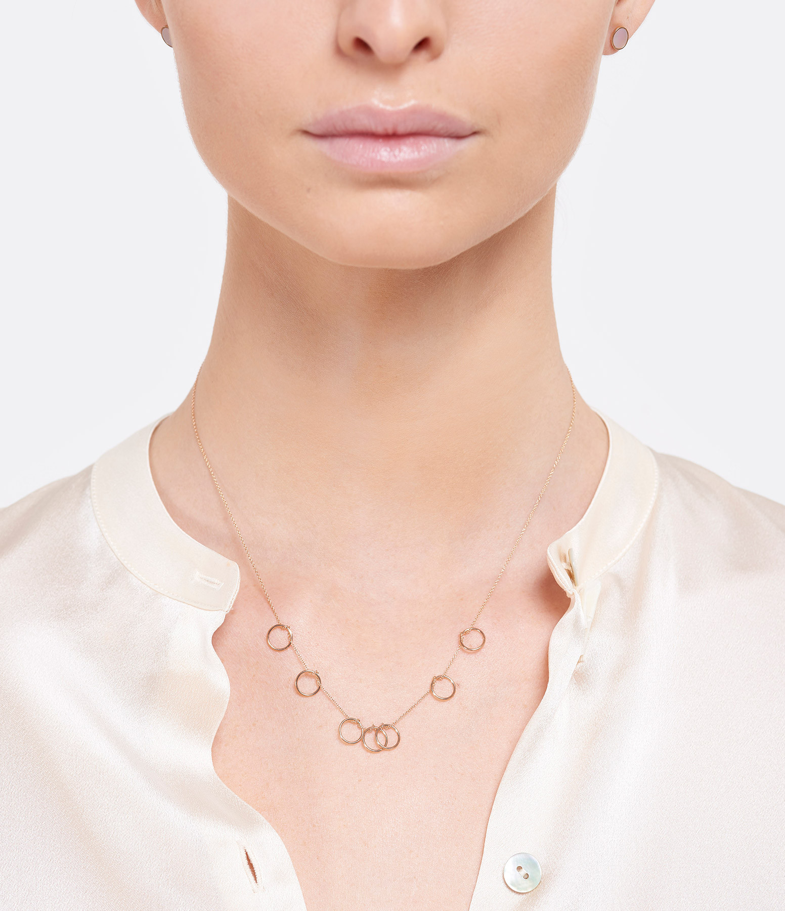 GINETTE NY - Collier Tiny 7 Cercles Or Rose