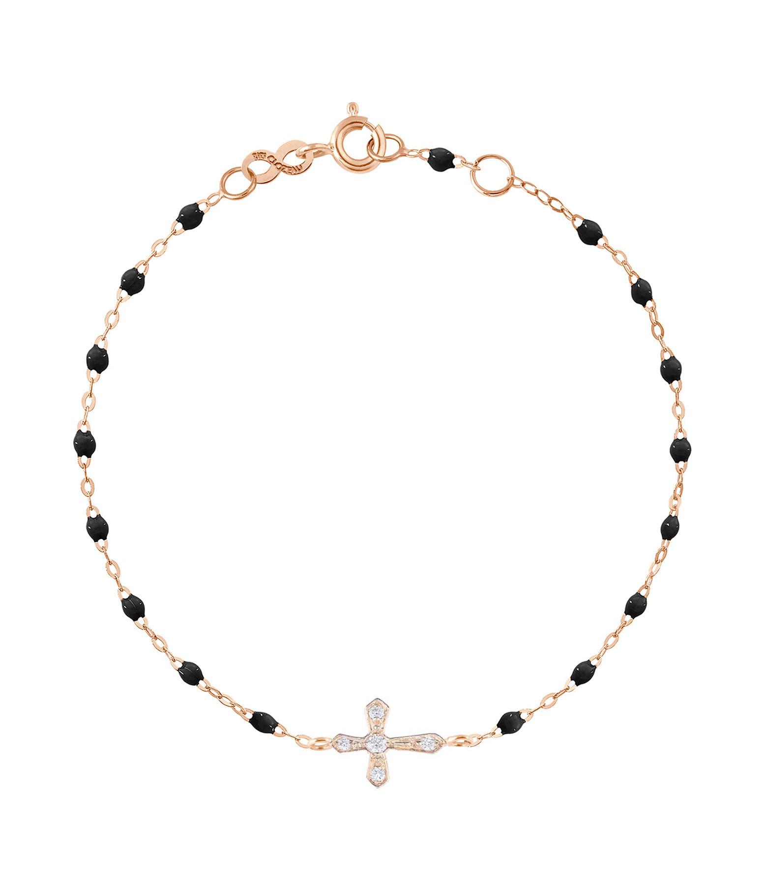 GIGI CLOZEAU - Bracelet Résine Croix Vintage Diamants Or rose