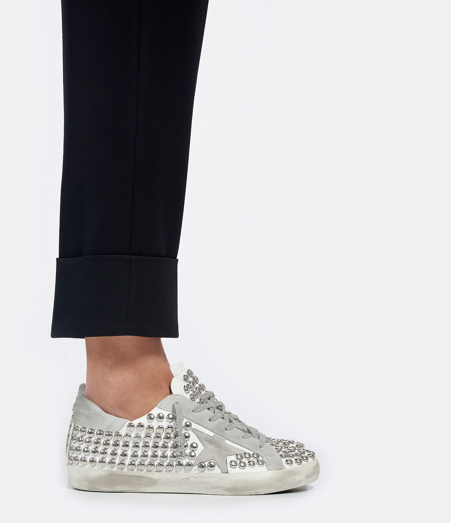 Baskets Superstar Old Cuir Clous Blanc - GOLDEN GOOSE