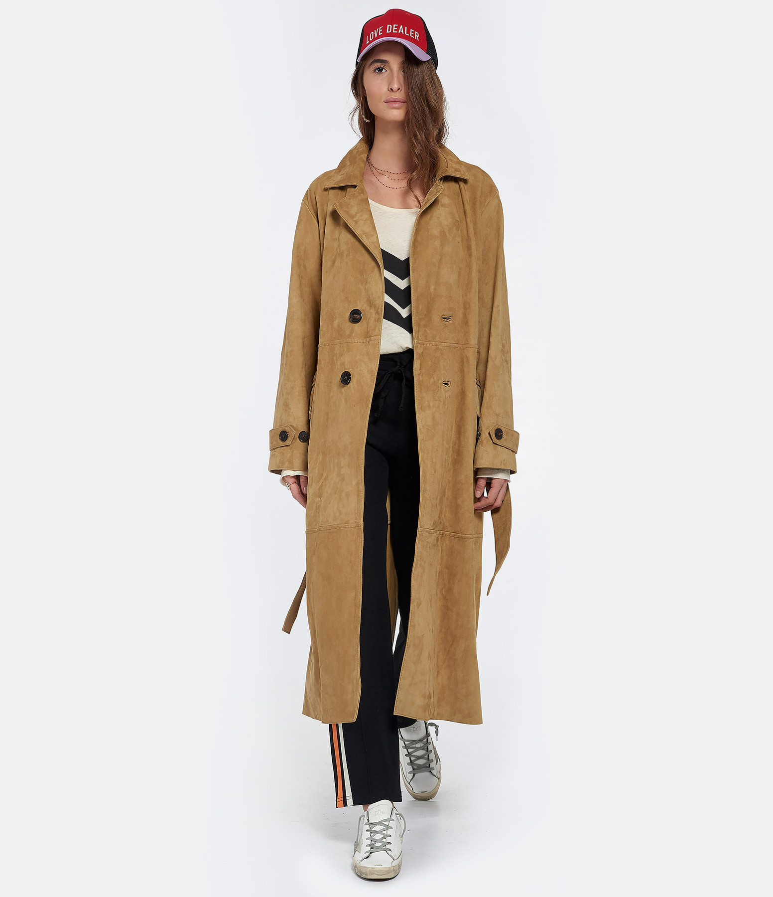 GOLDEN GOOSE - Manteau Elle Cuir Olive