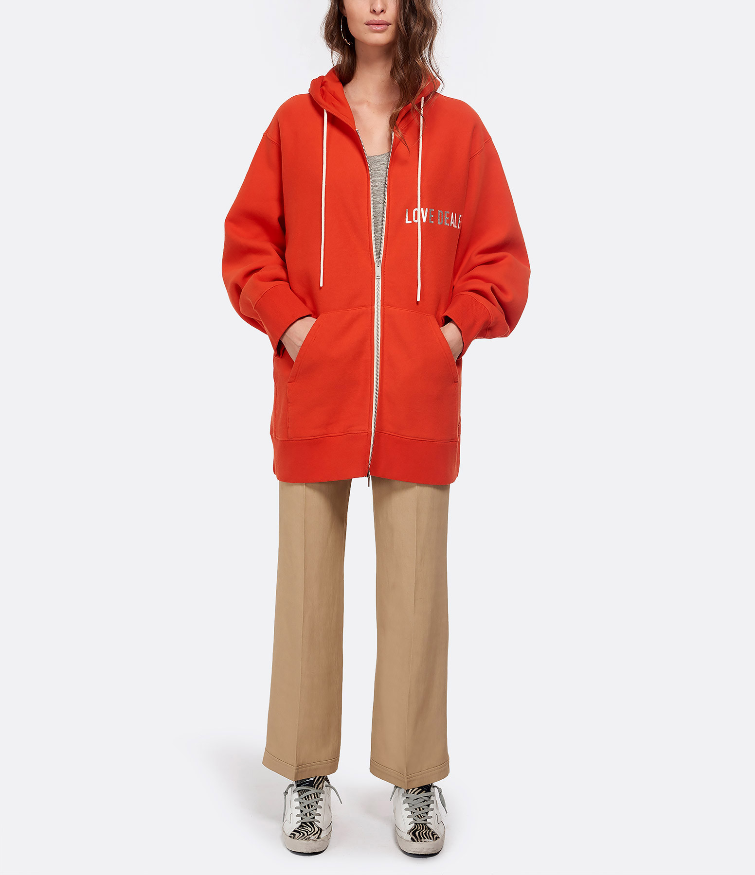 GOLDEN GOOSE - Veste Love Dealer Coton Orange