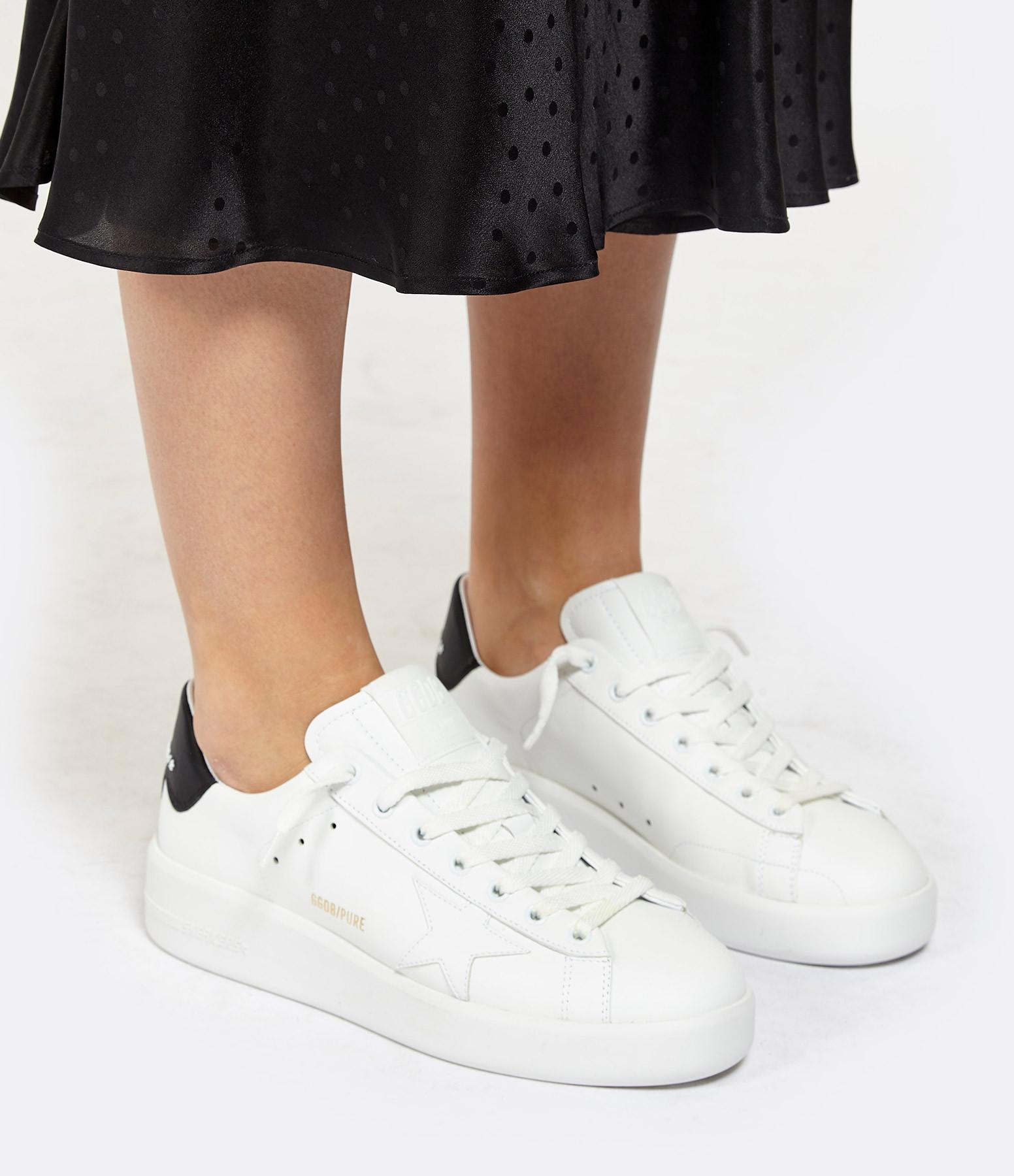 GOLDEN GOOSE - Baskets Pure Star Cuir Blanc Noir