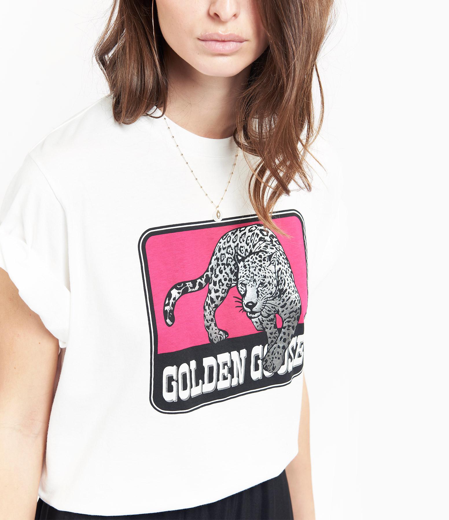 GOLDEN GOOSE - Tee-shirt Over Jaguar Coton Blanc