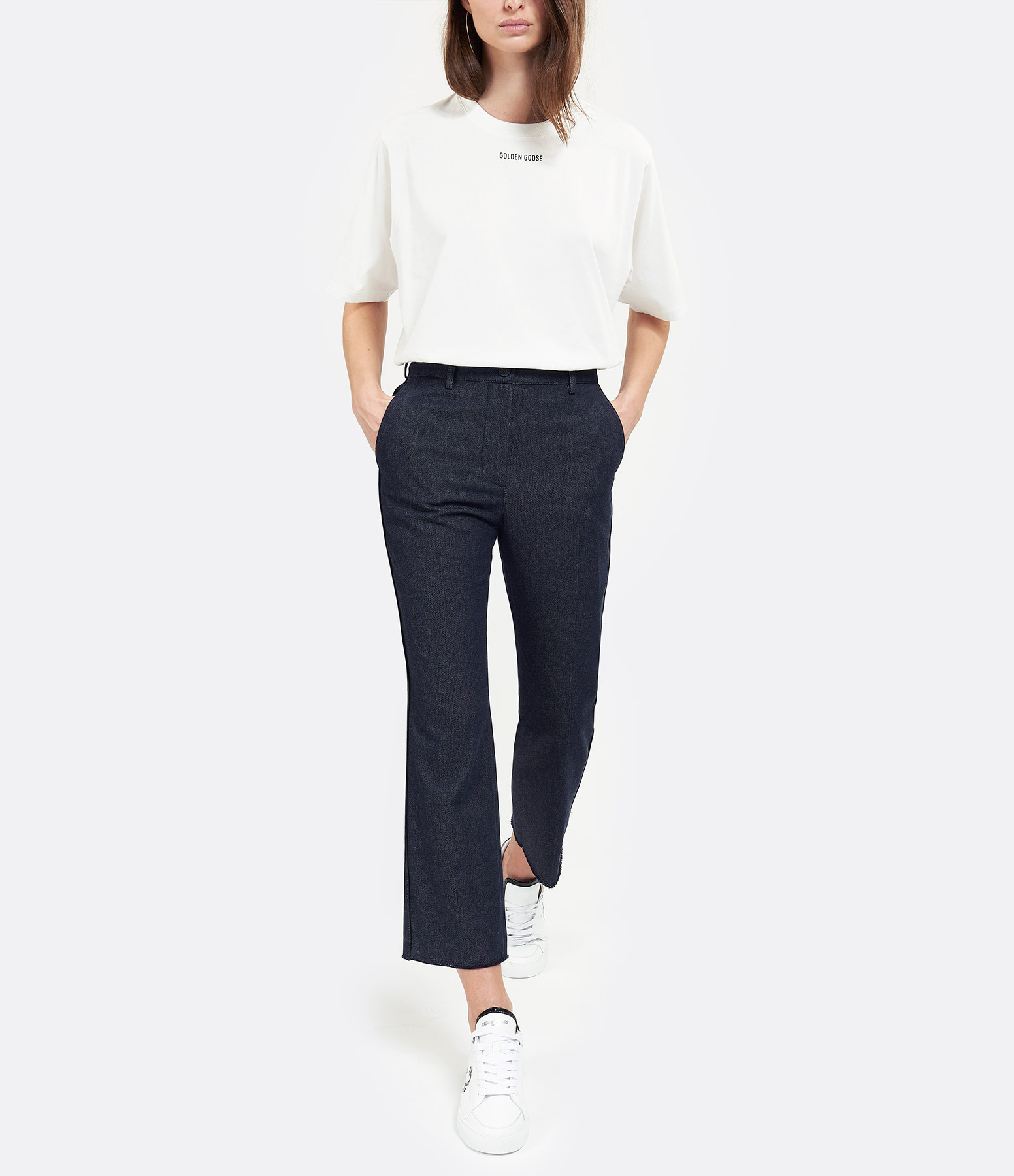 GOLDEN GOOSE - Pantalon Crop Marta Denim Bleu