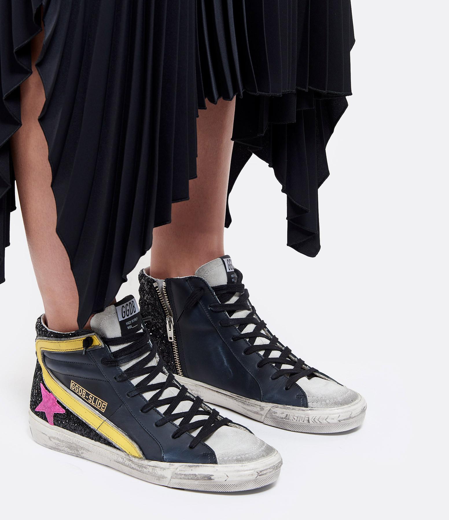 GOLDEN GOOSE - Baskets Slide Cuir Paillettes Noir Jaune