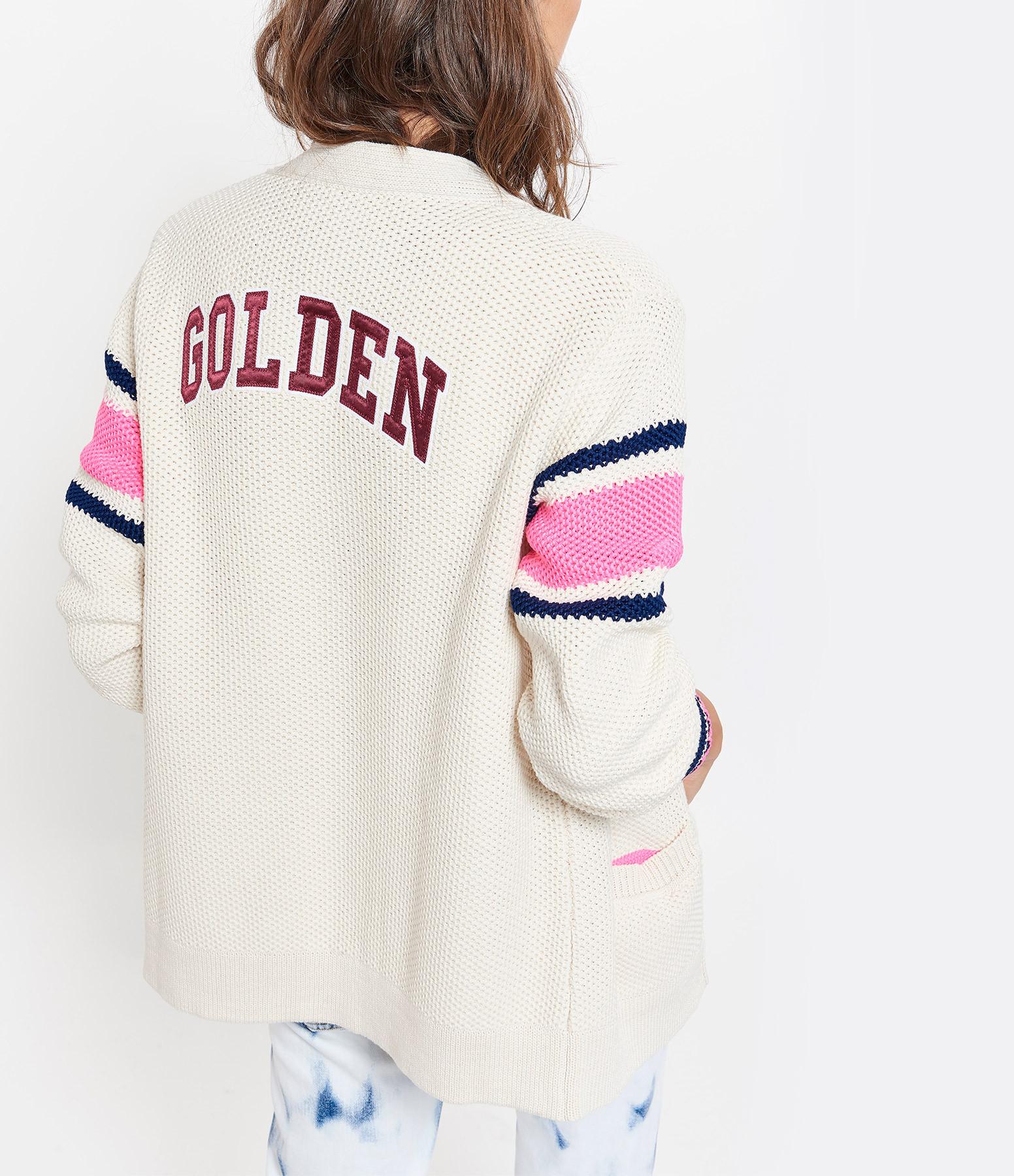 GOLDEN GOOSE - Gilet Katy Coton Navy Fushia Blanc