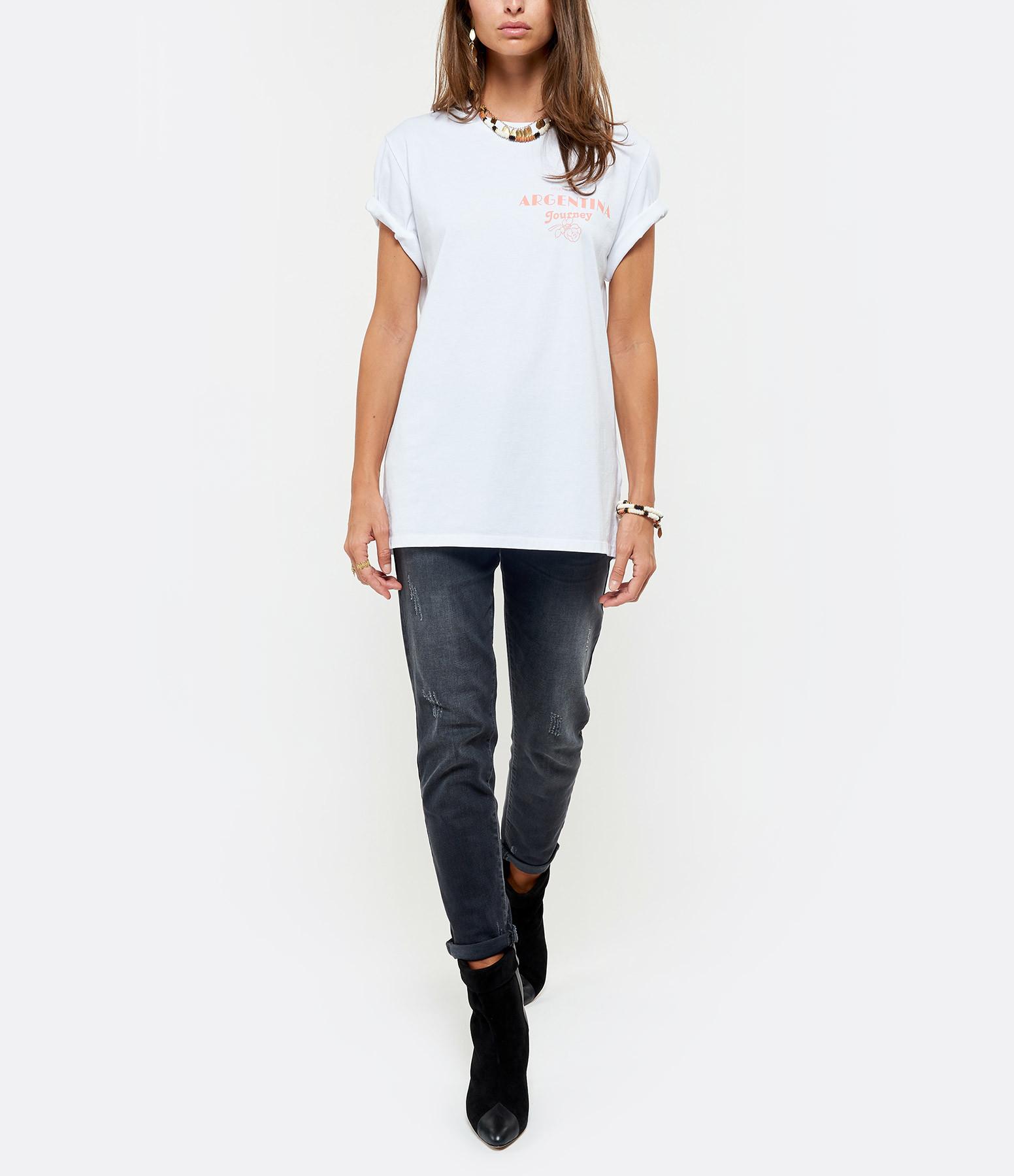GOLDEN GOOSE - Tee-shirt Argentina Coton Blanc Saumon