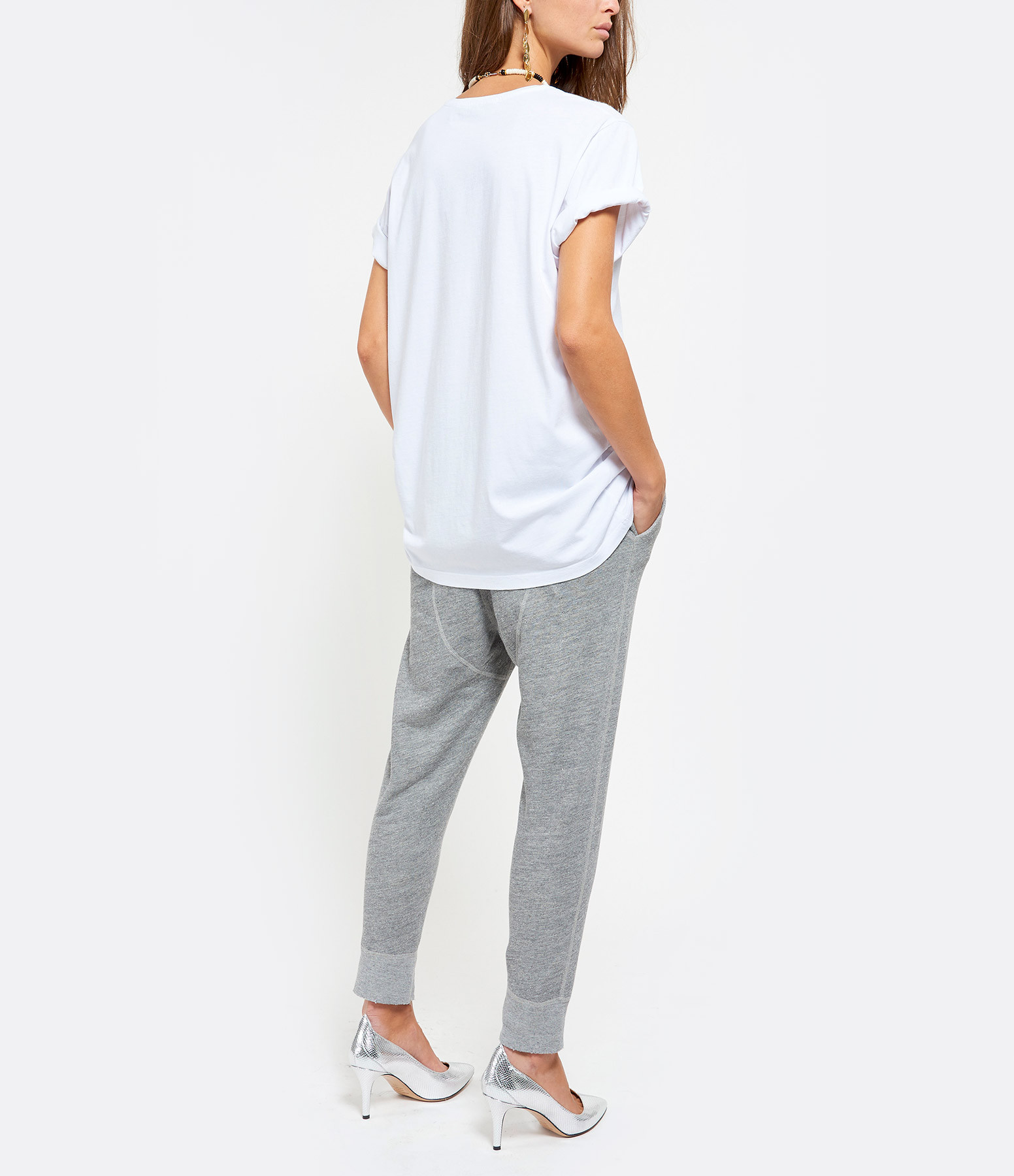 GOLDEN GOOSE - Tee-shirt Ania Coton Rainbow Blanc