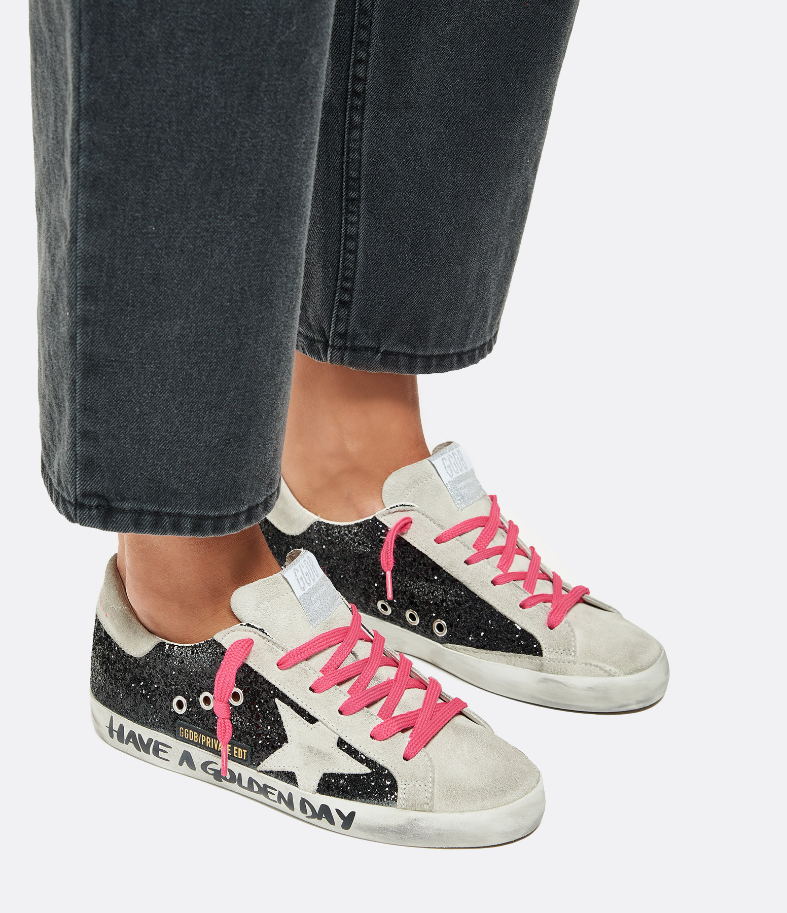GOLDEN GOOSE - Baskets Superstar Cuir Glitter, Exclusivité Lulli